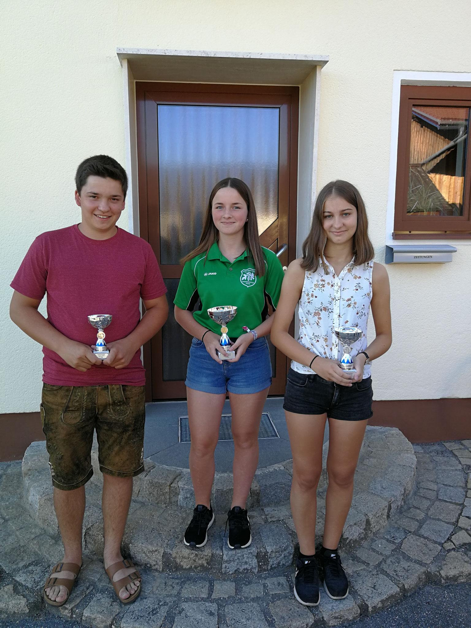 v.l.n.r. 3. Jugendmeister LG Max Hauner, 1. Jugendmeisterin LG Anna Mittermeier, 3. Jugendmeisterin LG Julia Meindl