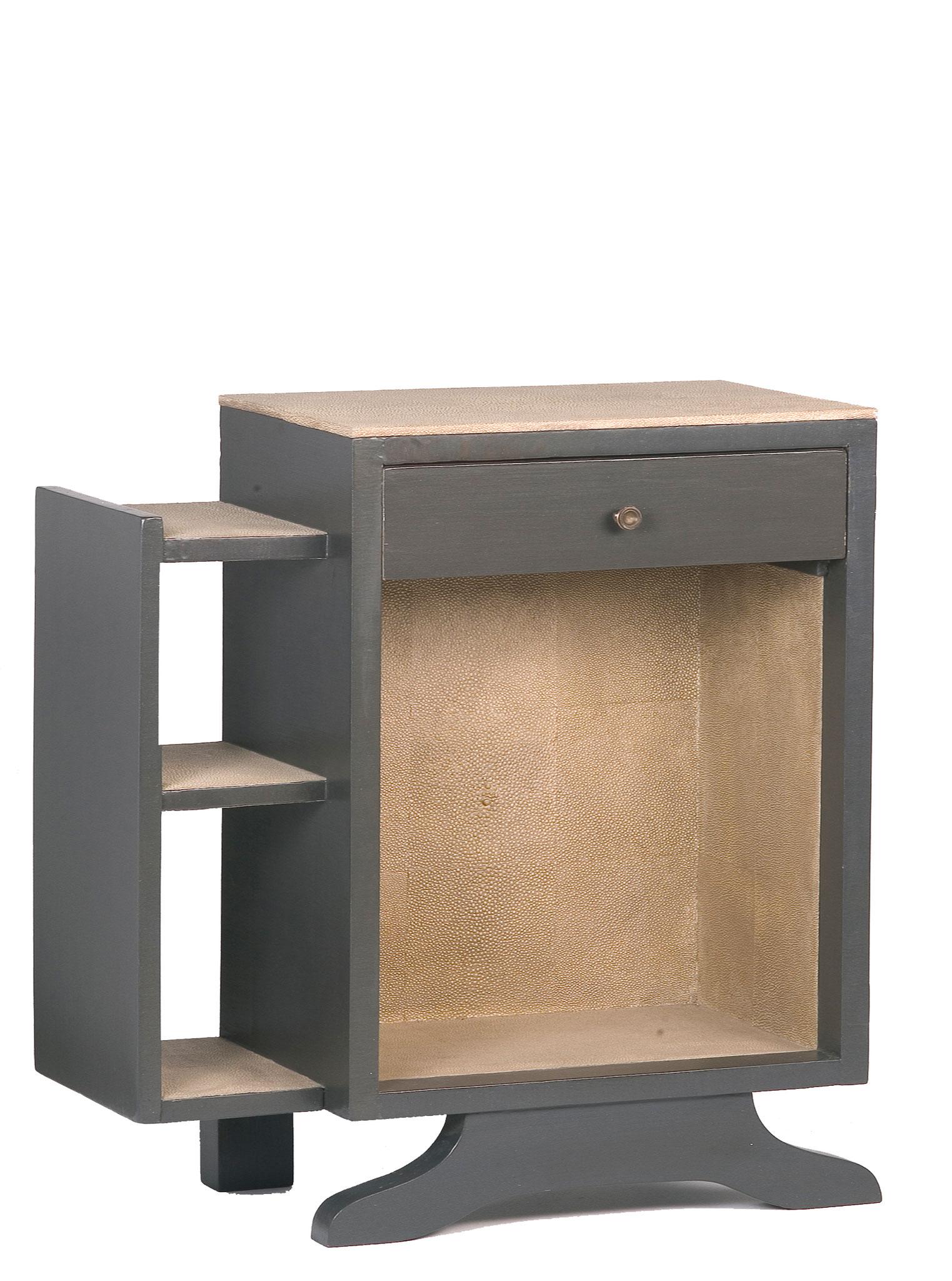Console gainée d'empreinte de peaux de galuchat - Ancien meuble des années 40 - 55 x 50 x 34 cm