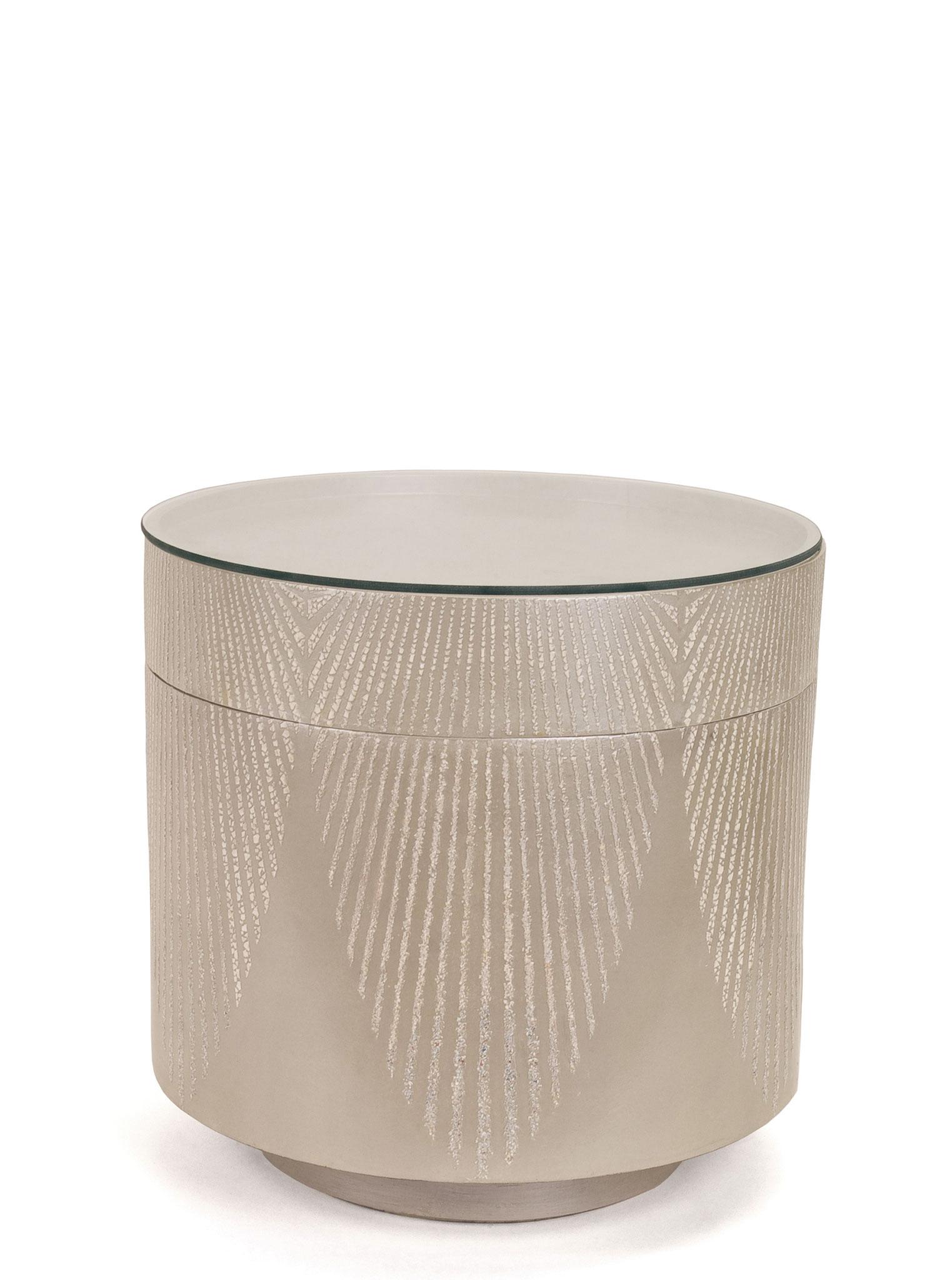 Table basse laquée avec incrustations de coquilles d'œuf - Ancienne boîte à chapeau de Chine - 36 x 41 cm