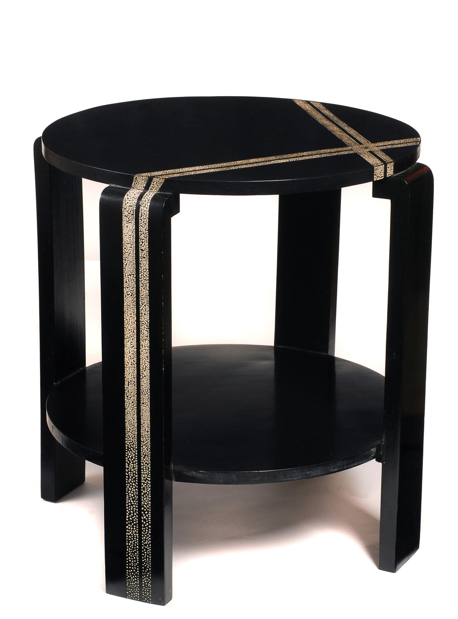 Table basse laquée avec incrustation de coquilles d'œufs - Création sur mesure - 58 x 54 cm