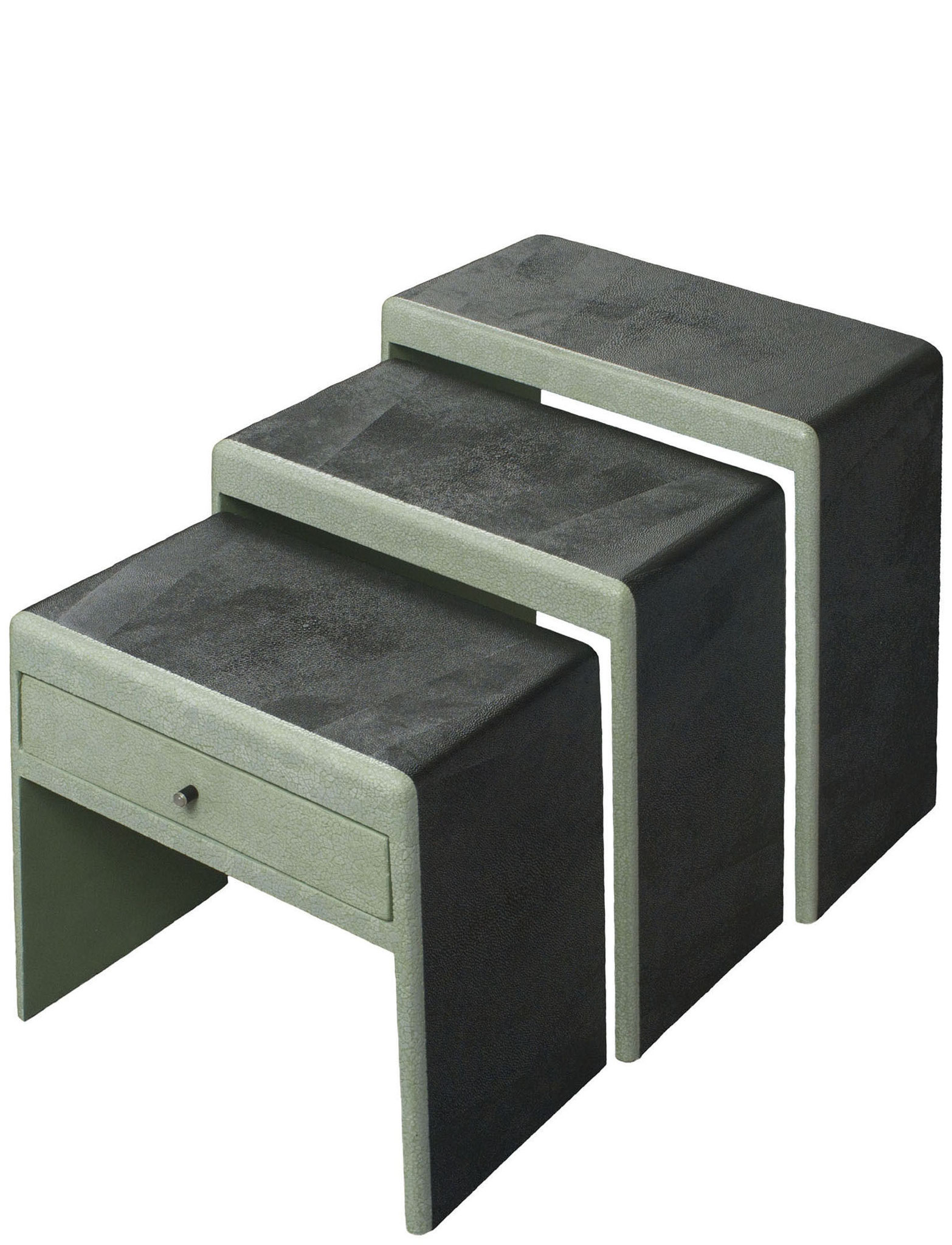 Nest of tables covered with faux-shagreen and lacquered with eggshells inlays - Ebony & moonstone drawer pull - Custom made piece - 53 x 26 x 78 cm