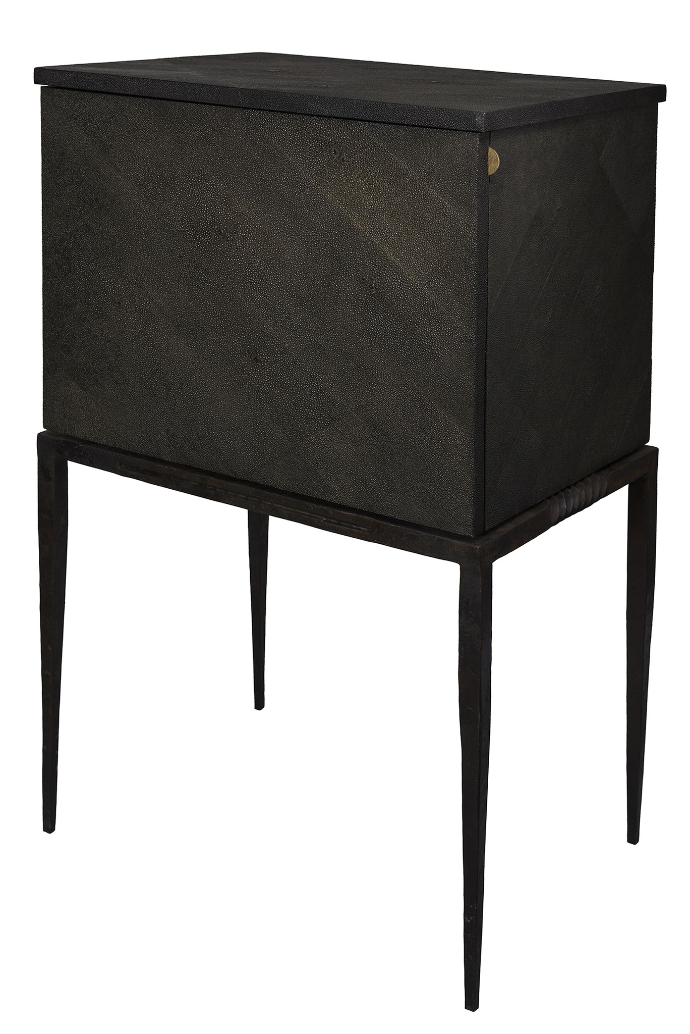 Console covered with faux-shragreen, feets in iron brass - Custom made piece - 73 x 47 x 53 cm