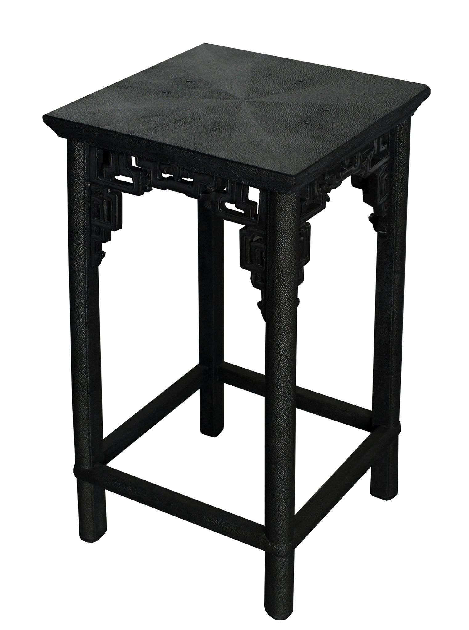 Console table covered with faux-shagreen - Vintage piece from Beijing - 53 x 26 x 78 cm