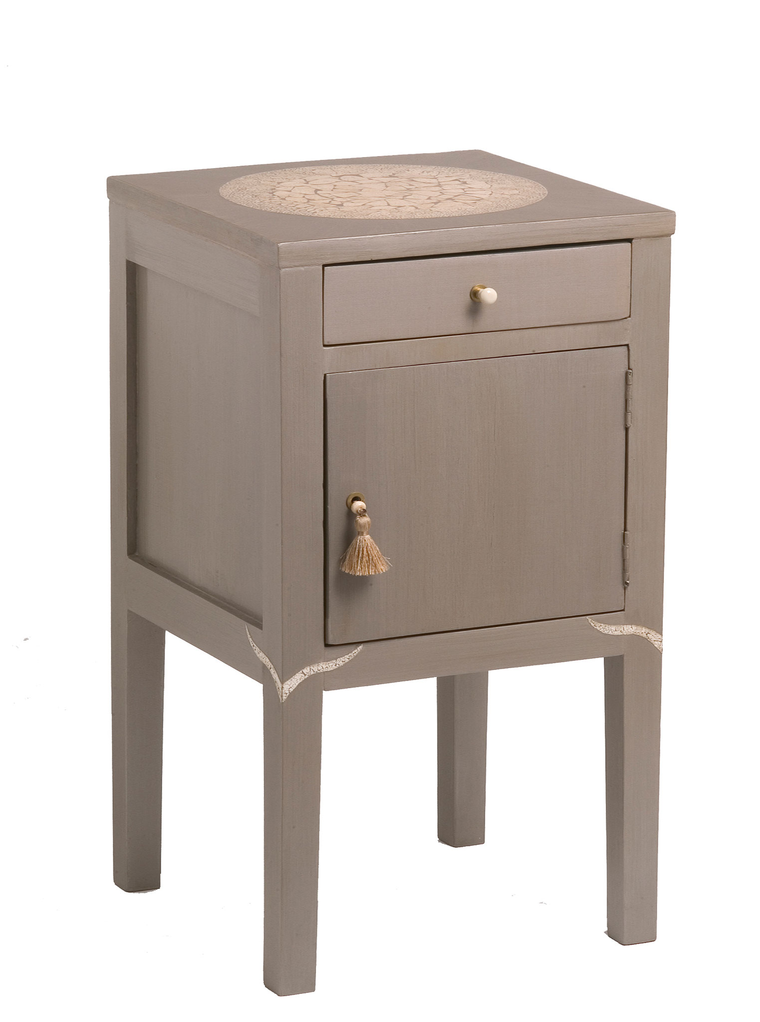Bedside table acquered with eggshell inlays on the top and legs. Drawer pull of white resin. Door pull of silk tassel on a bone pearl - Vintage piece from the 1940's - 67 x 35 x 35 cm