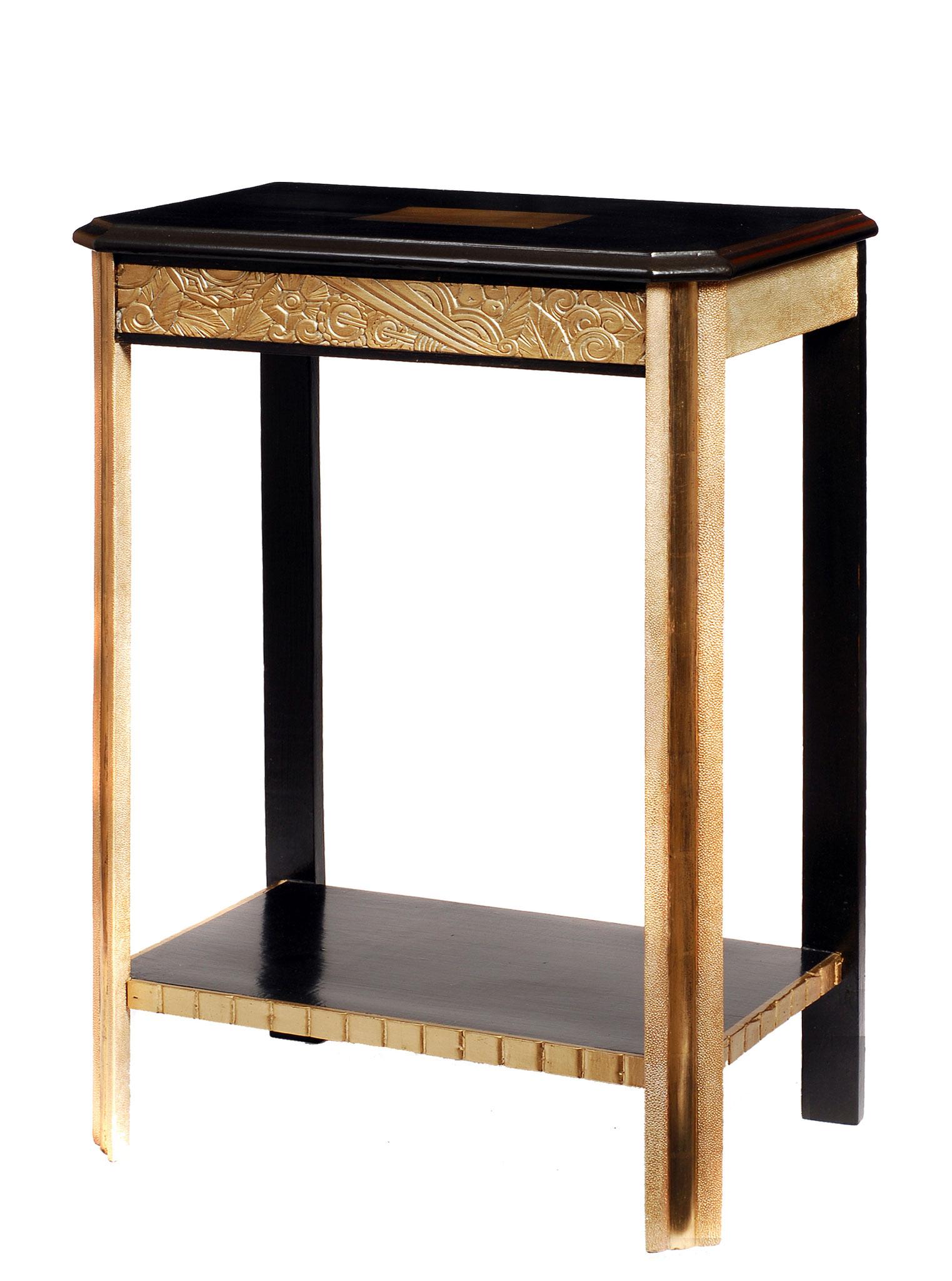 Console laquée avec dorure à la feuille d'or et empreinte de peaux de galuchat - Ancien meuble des années 30 - 82 x 51 x 34 cm