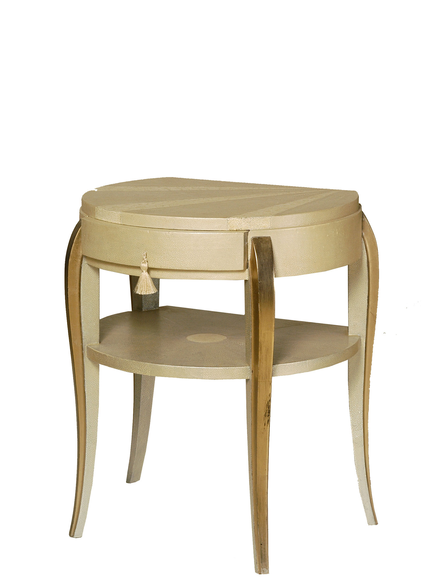 Bedside table lacquered with faux-shagreen, eggshells inlays & gold leaves - Vintage piece from the 1940's - 57 x 46 x 40 cm