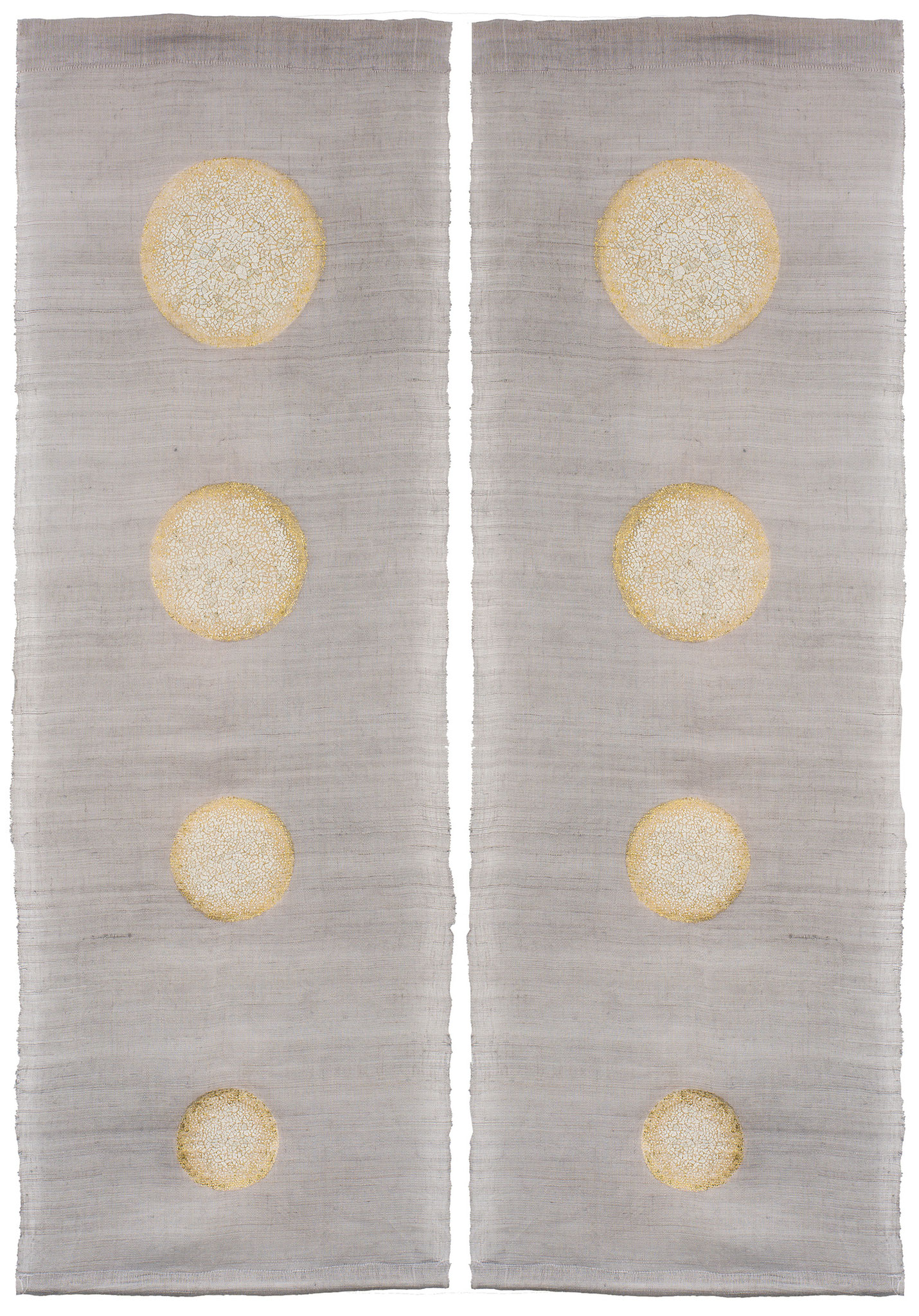 Moonrise - Hemp fabric from China with gold leaves and eggshells - Size : 90 x  150 cm