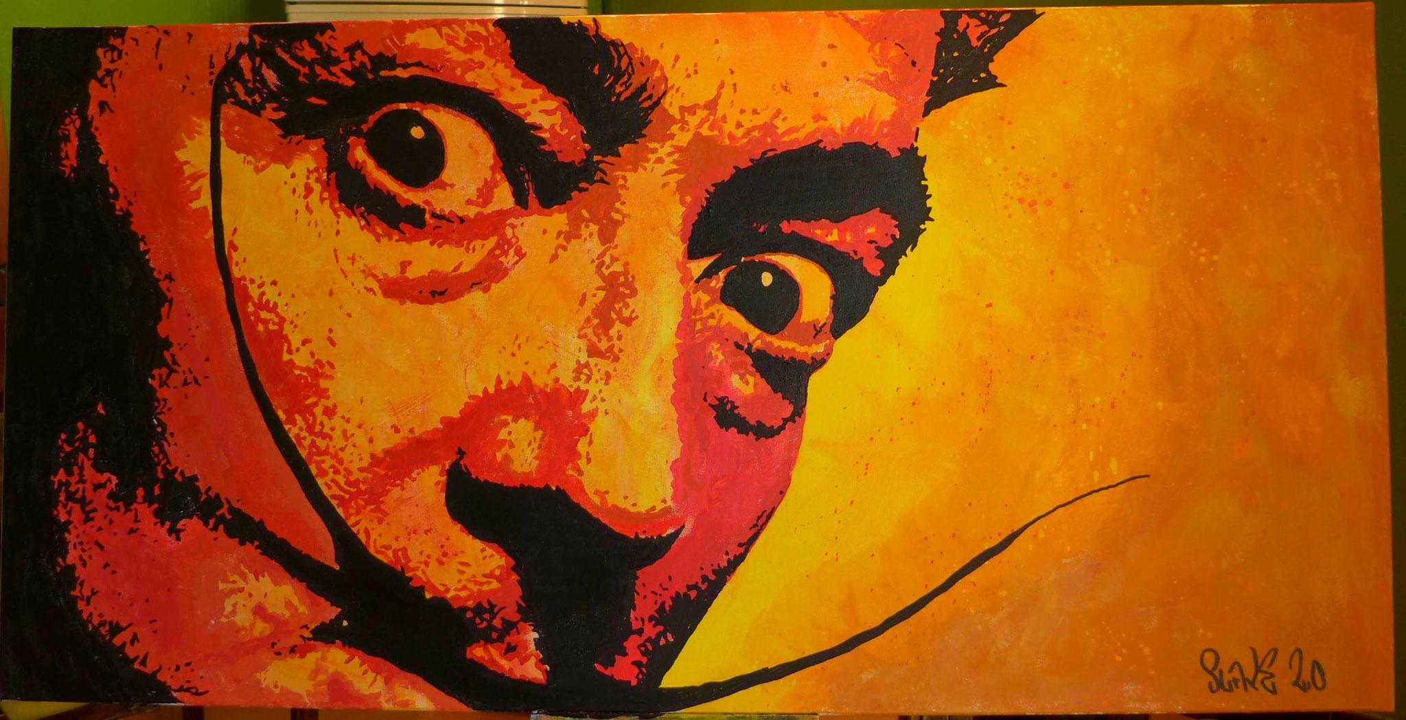 Slavador Dali Crazy eyes street art sur toile par Slave 2.0