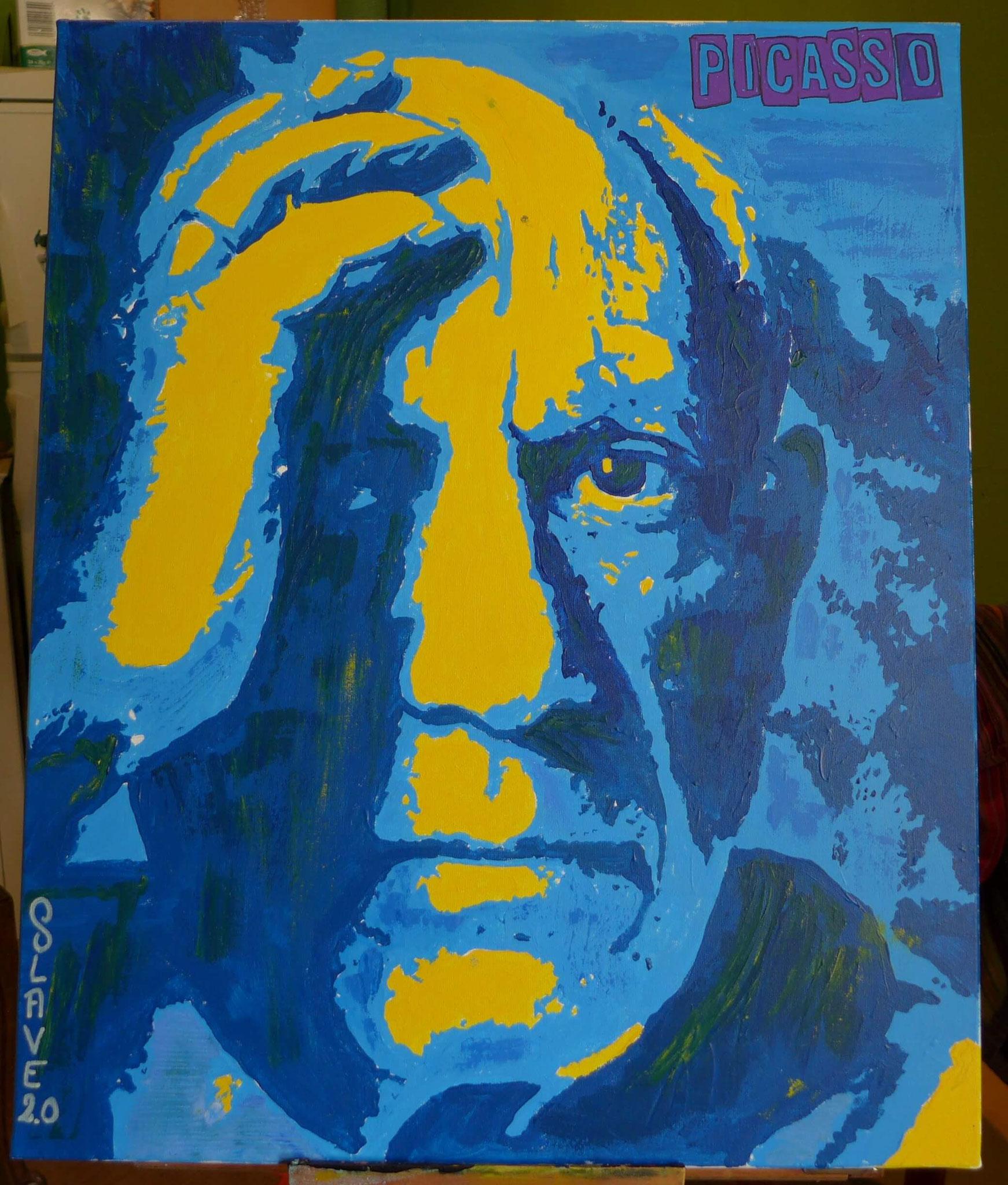 Pablo Picasso Street art sur toile par Slave 2.0