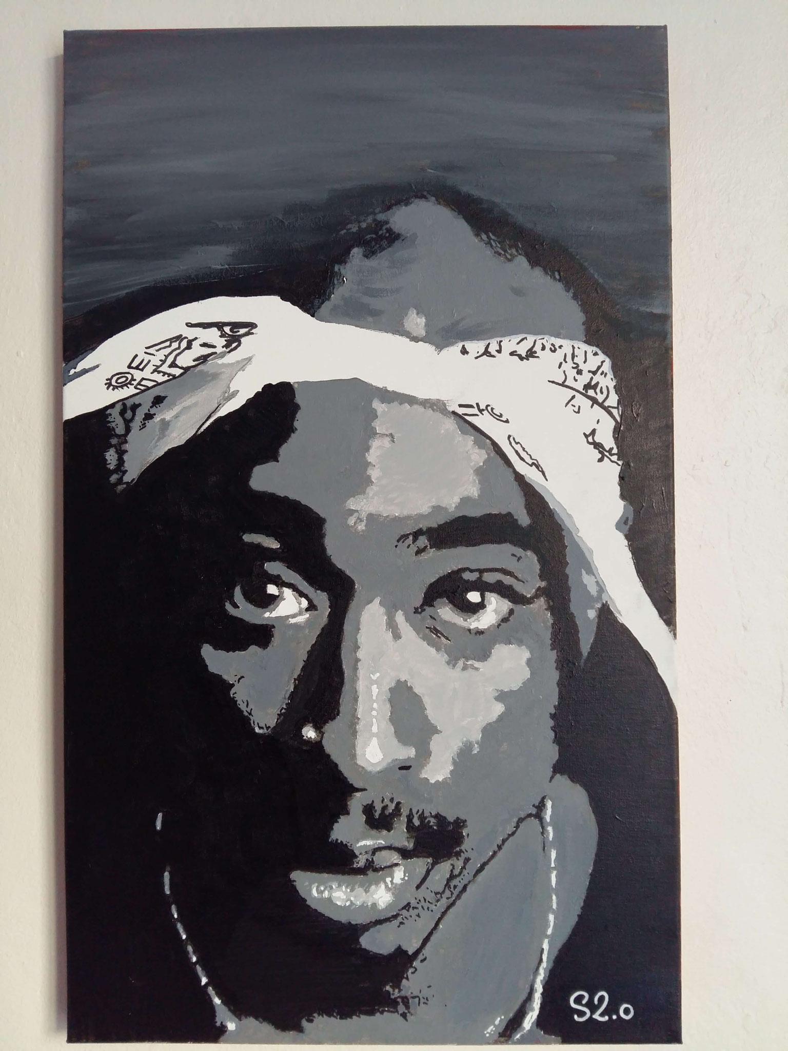 Tupac Shakur Street art sur toile par Slave 2.0