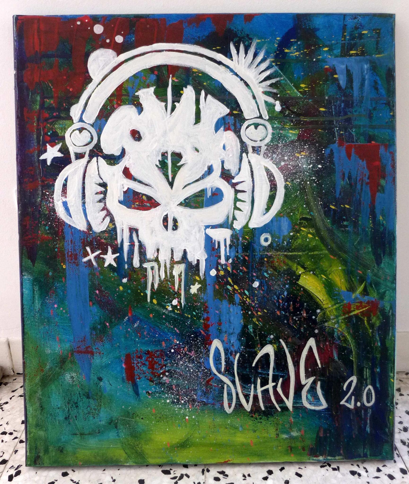 SkullHead street art par Slave 2.0