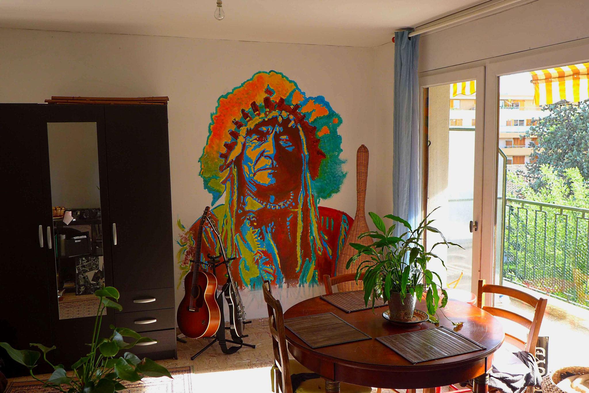 fresque personnalisée sur commance chef indien street art