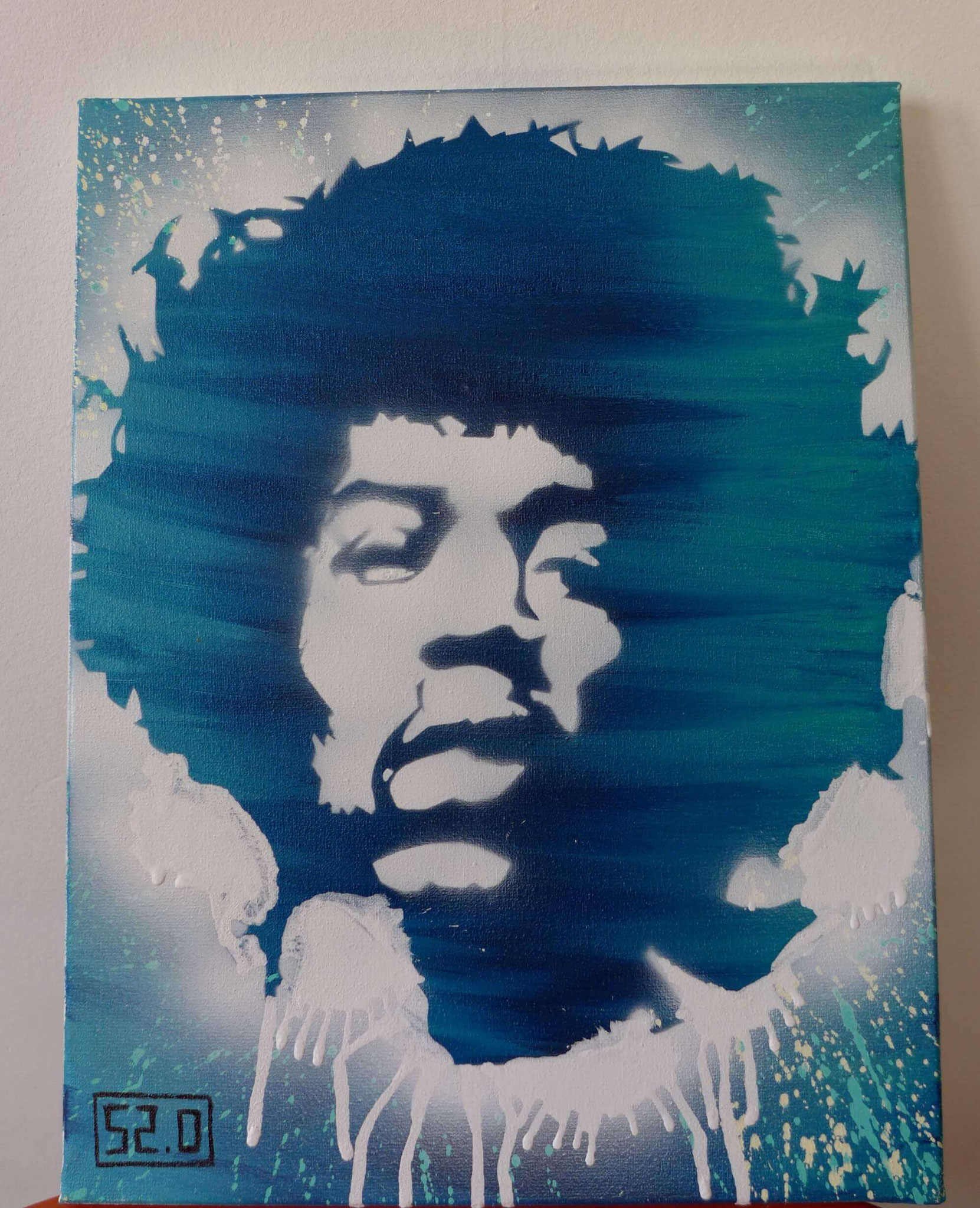 Hendrix Jimi street art pochoir par Slave 2.0