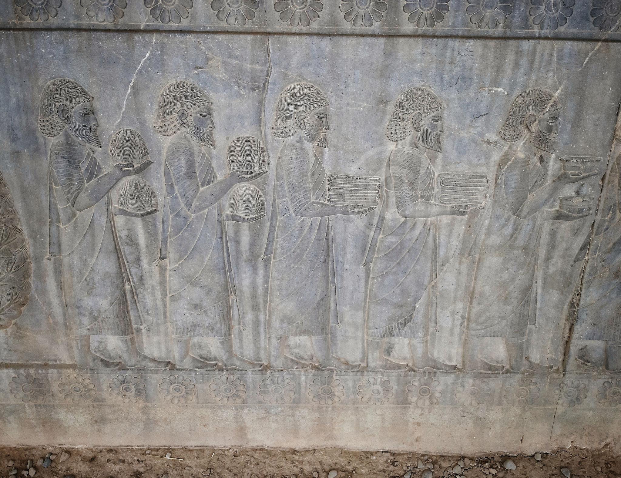 Vassalli ioni che portano in dono delle coppe, due rotoli di stoffa di lana, una tunica pregiata e delle matasse di lana filata dai colori rari, Palazzo Apadana - Persepoli (Iran)