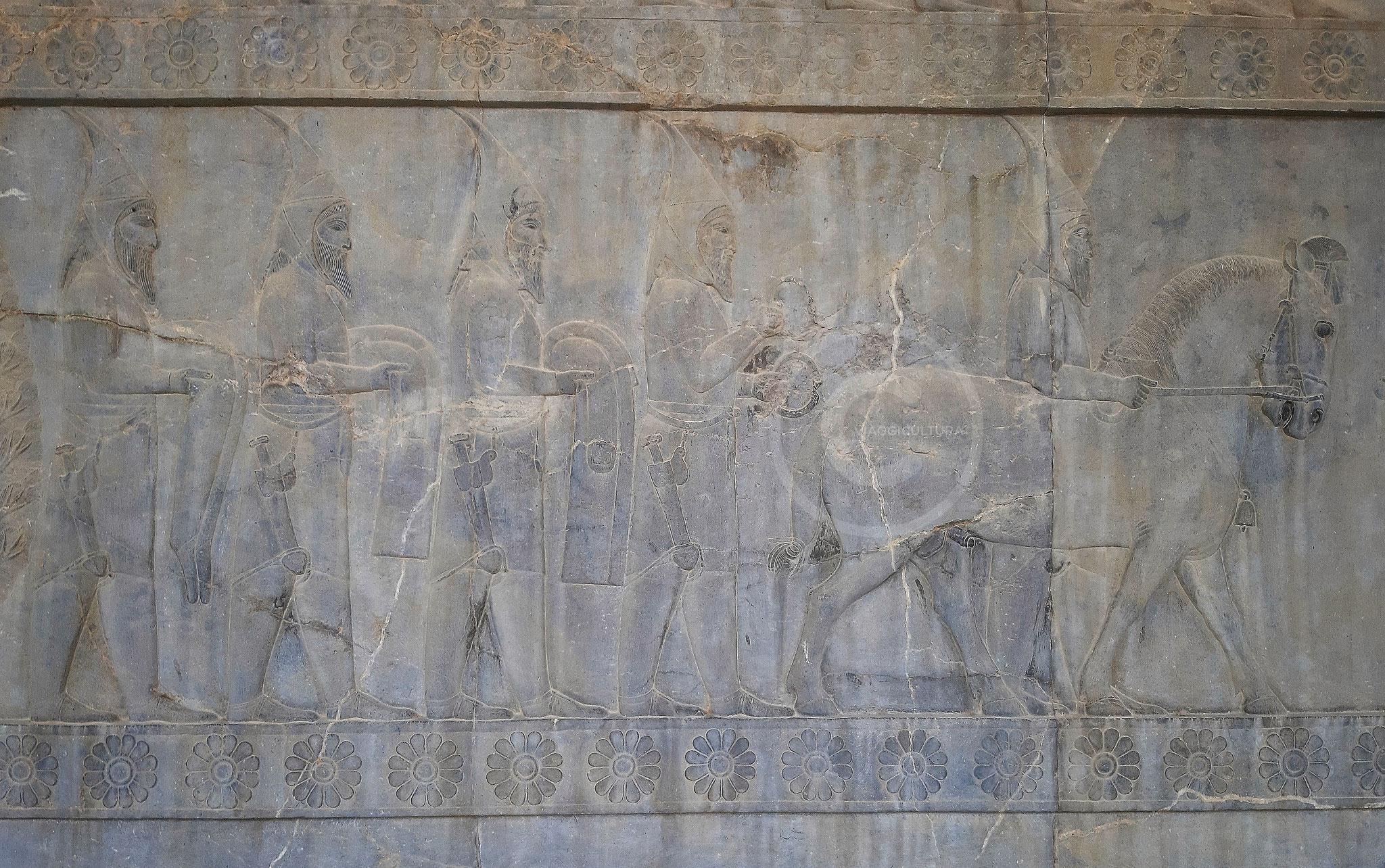 Vassalli Sciti che portano in dono uno stallone e dei braccialetti dalla testa a forma di ariete, Palazzo Apadana - Persepoli (Iran)