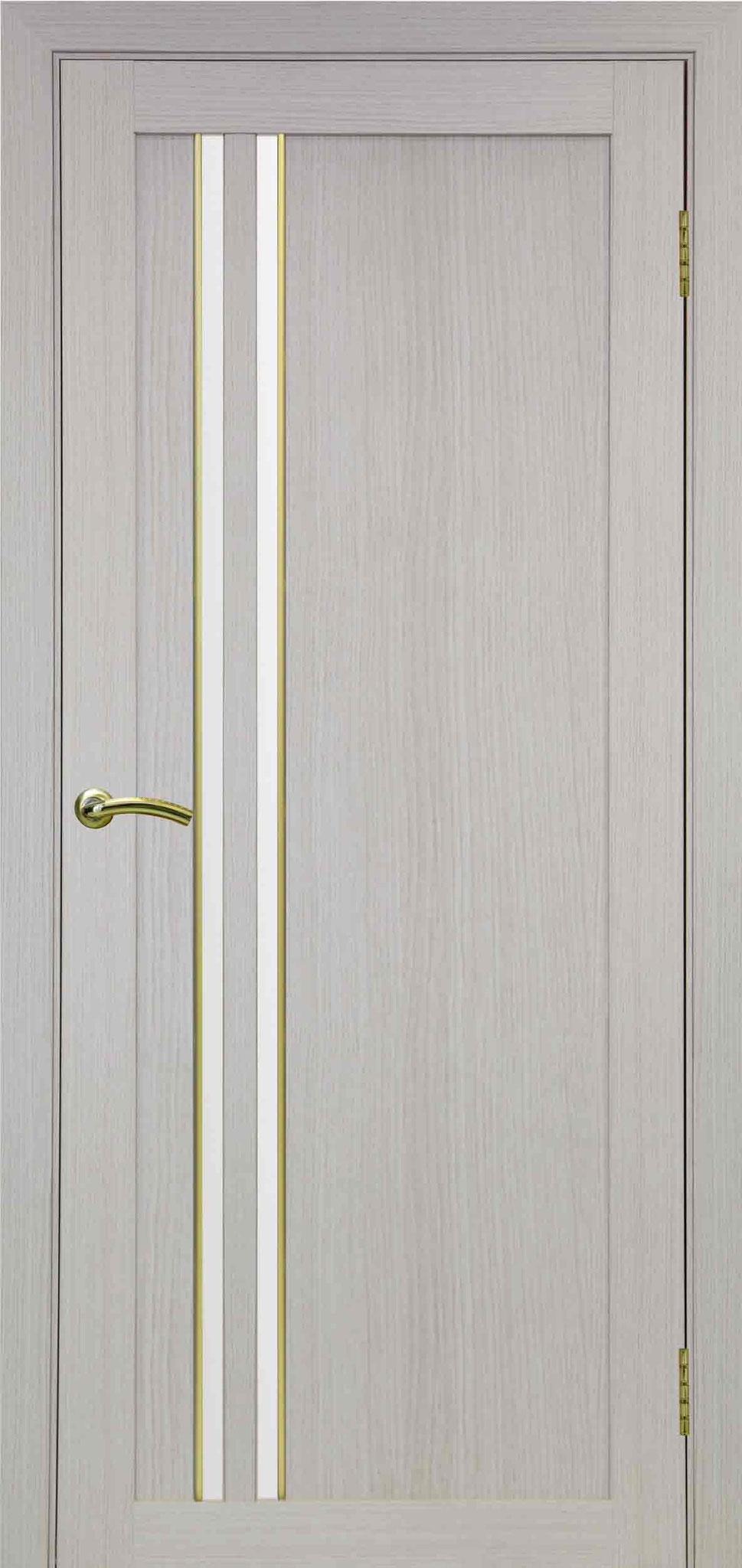 525 белёный дуб, АПС молдинг матовое золото, стекло сатин белое