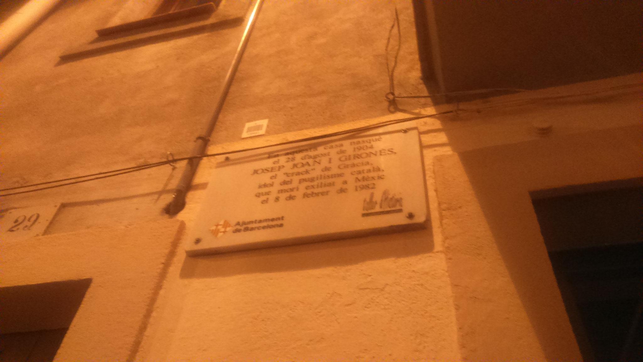Placa a Joan Josep Gironès