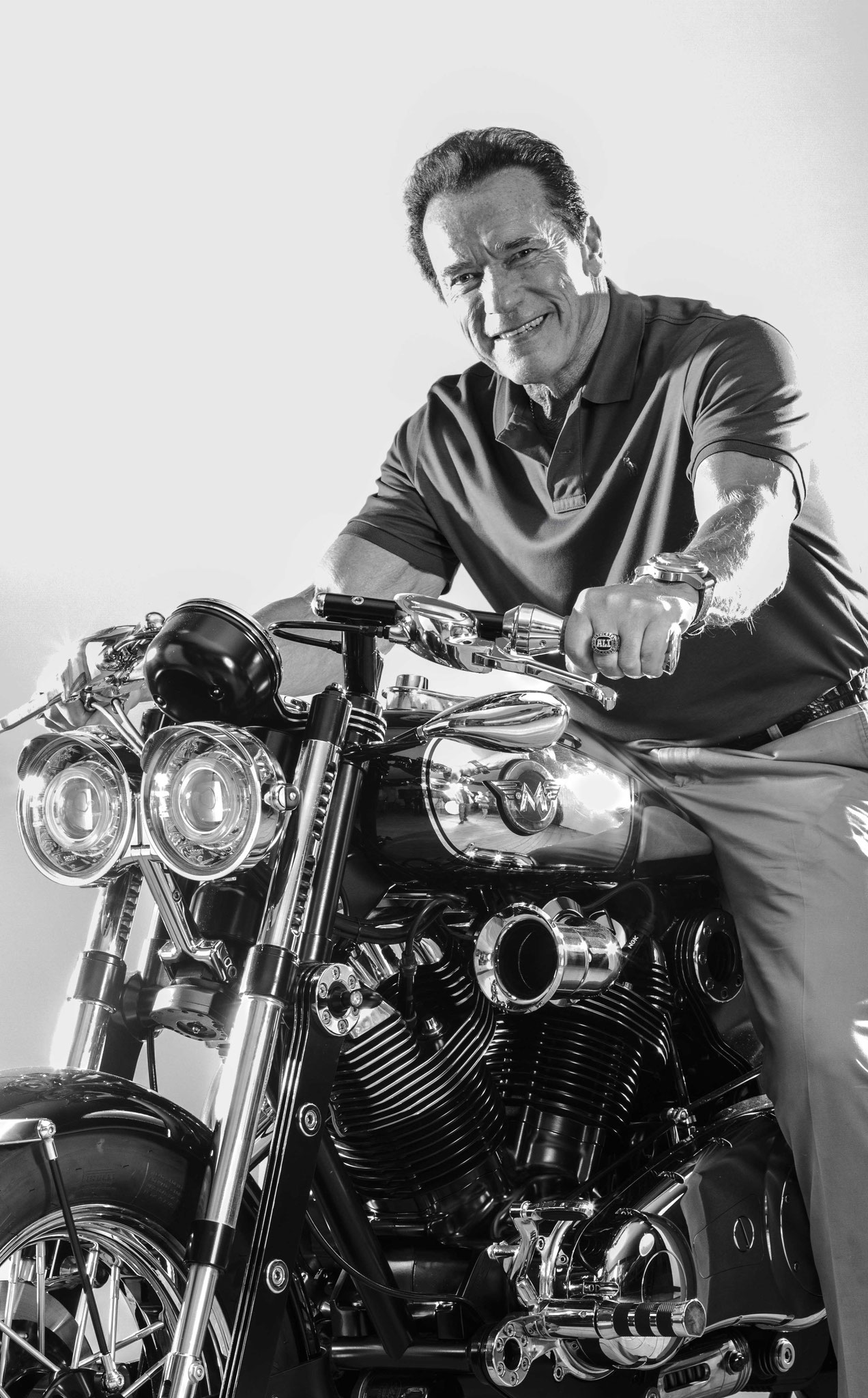 Arnold Schwarzenegger on Model X by Matchless London- |All rights reserved| Copyright Clothing Company