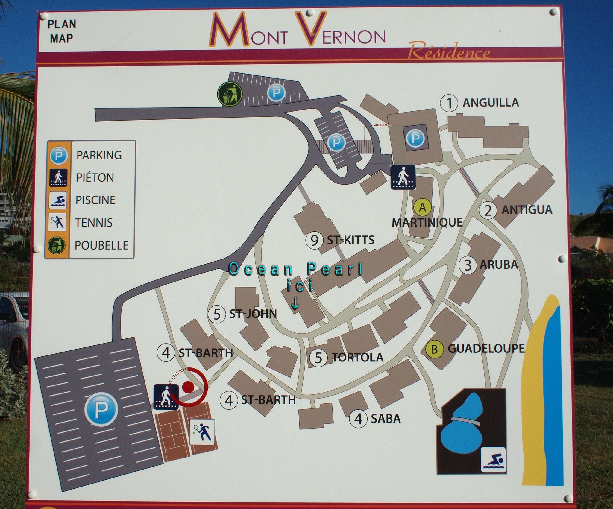 Carte du site avec indication de  notre suite en bleu