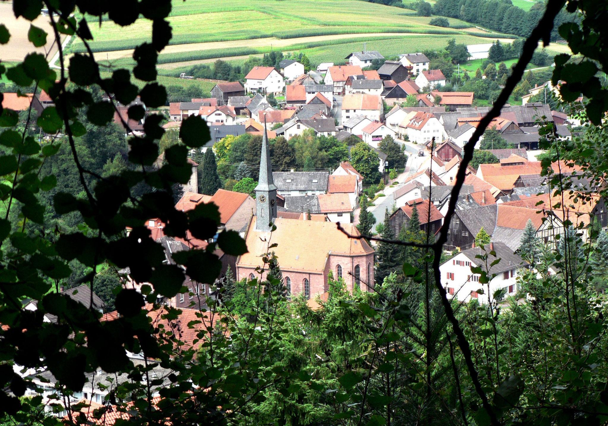 Ortsblick vom Wanderweg Richtung Hornbach