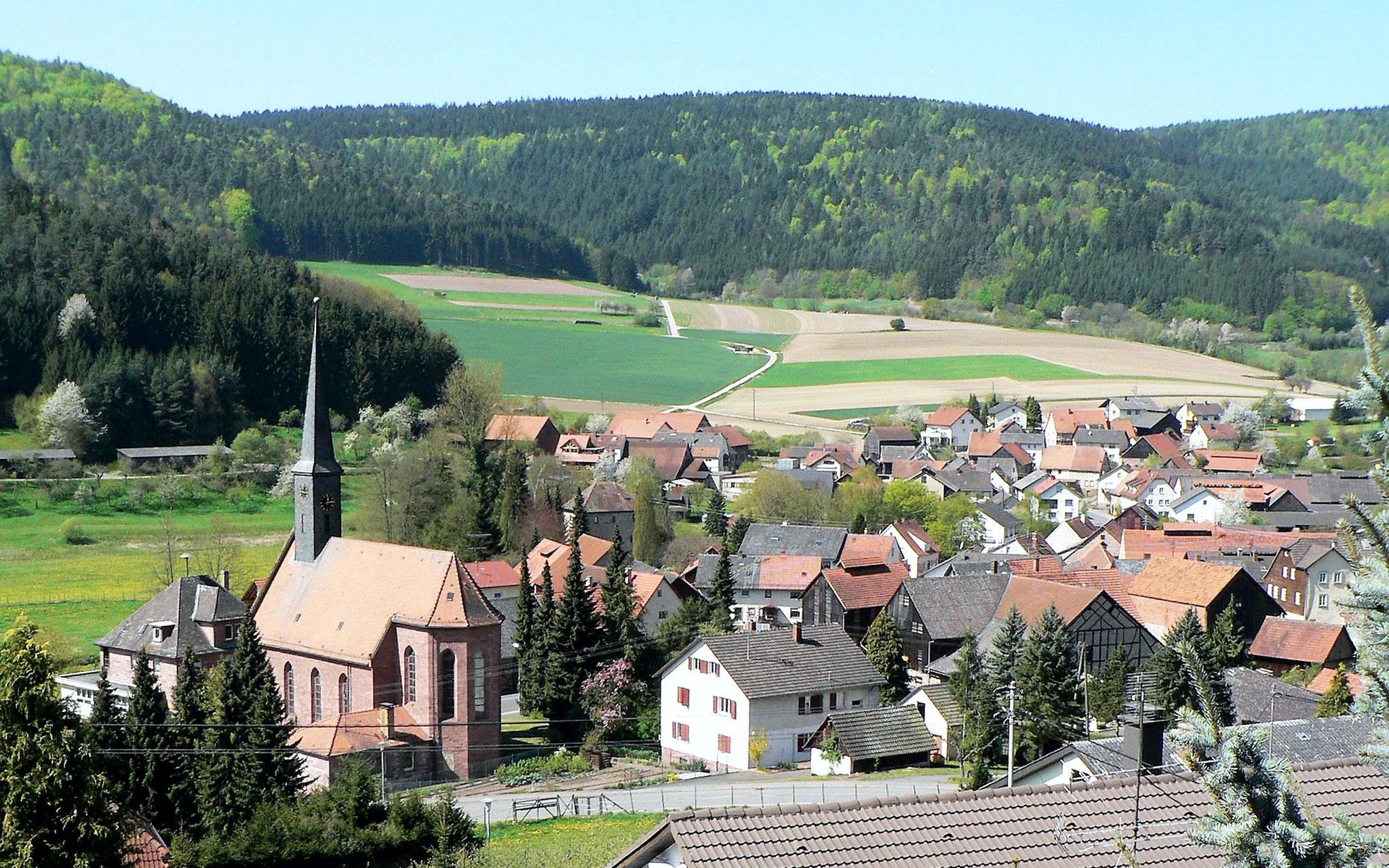 Blick nach Süden vom Hausdach auf Hettigenbeuern