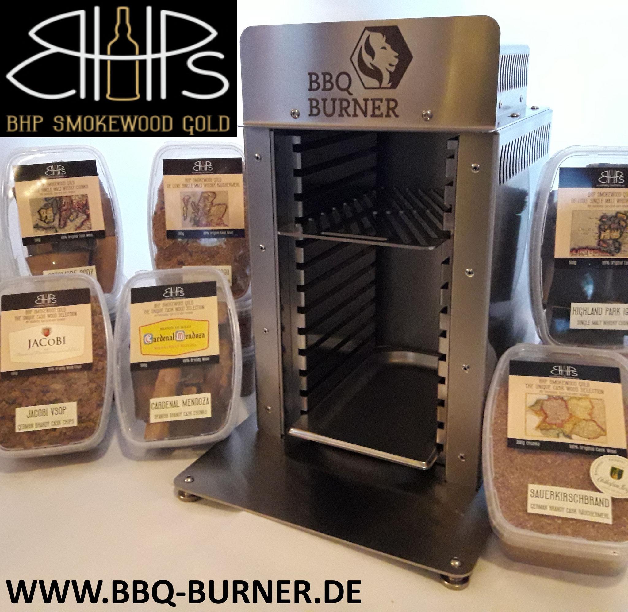 Oberhitzegrill einzigartig zum Umbauen aus der Manufaktur BBQ Burner und edle Sorten Räuchermehl, Chunks, Chips von BHP Smokewood Gold