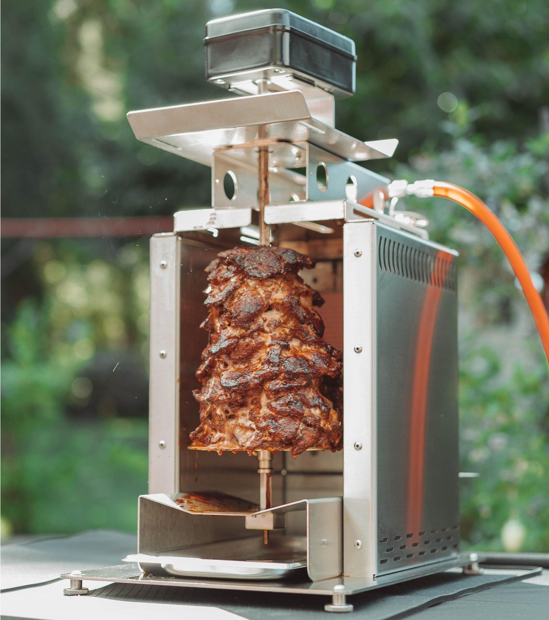 Obehitzegrill BBQ Burner Deluxe umgebaut mit Vertikal-Spieß ideal für z.B. Gyros oder Spießbraten