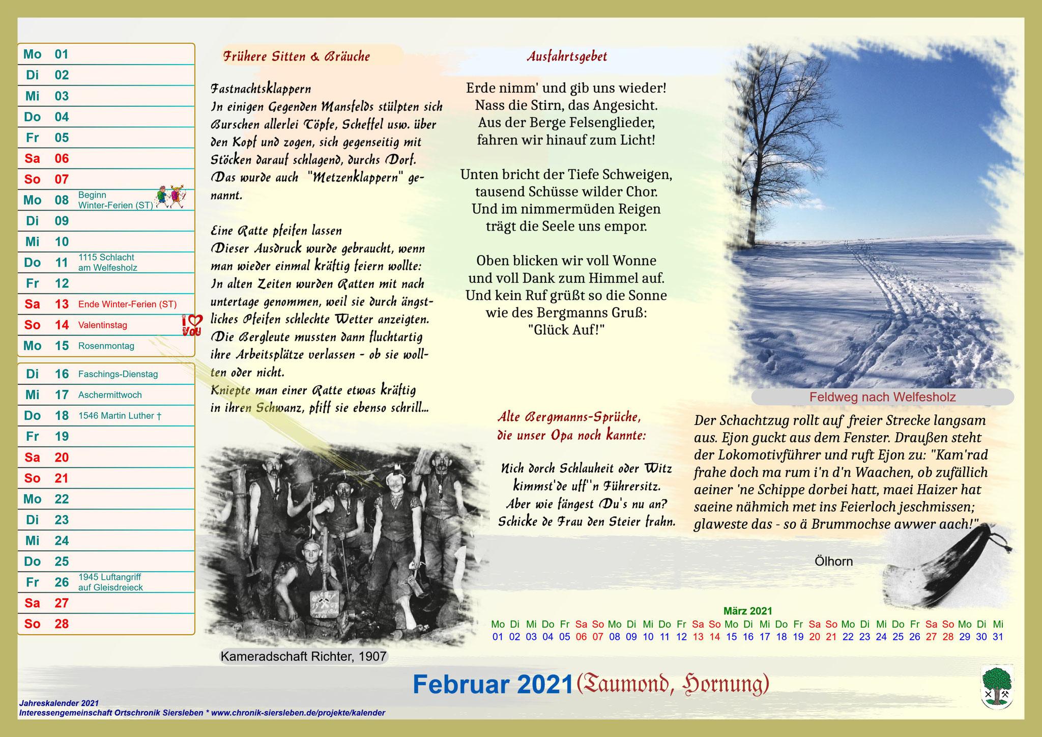 Jahreskalender 2021; Februar