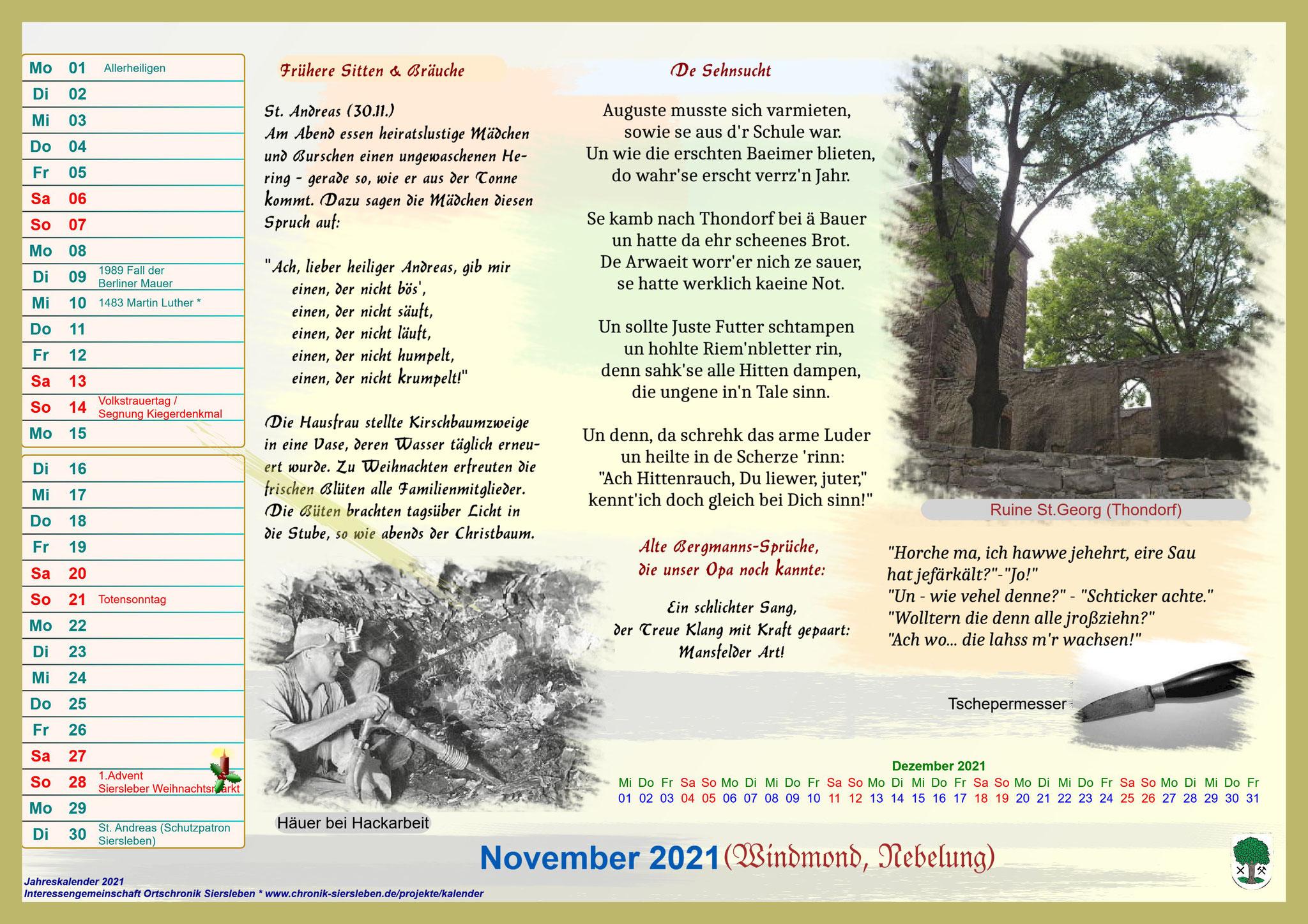Jahreskalender 2021; November