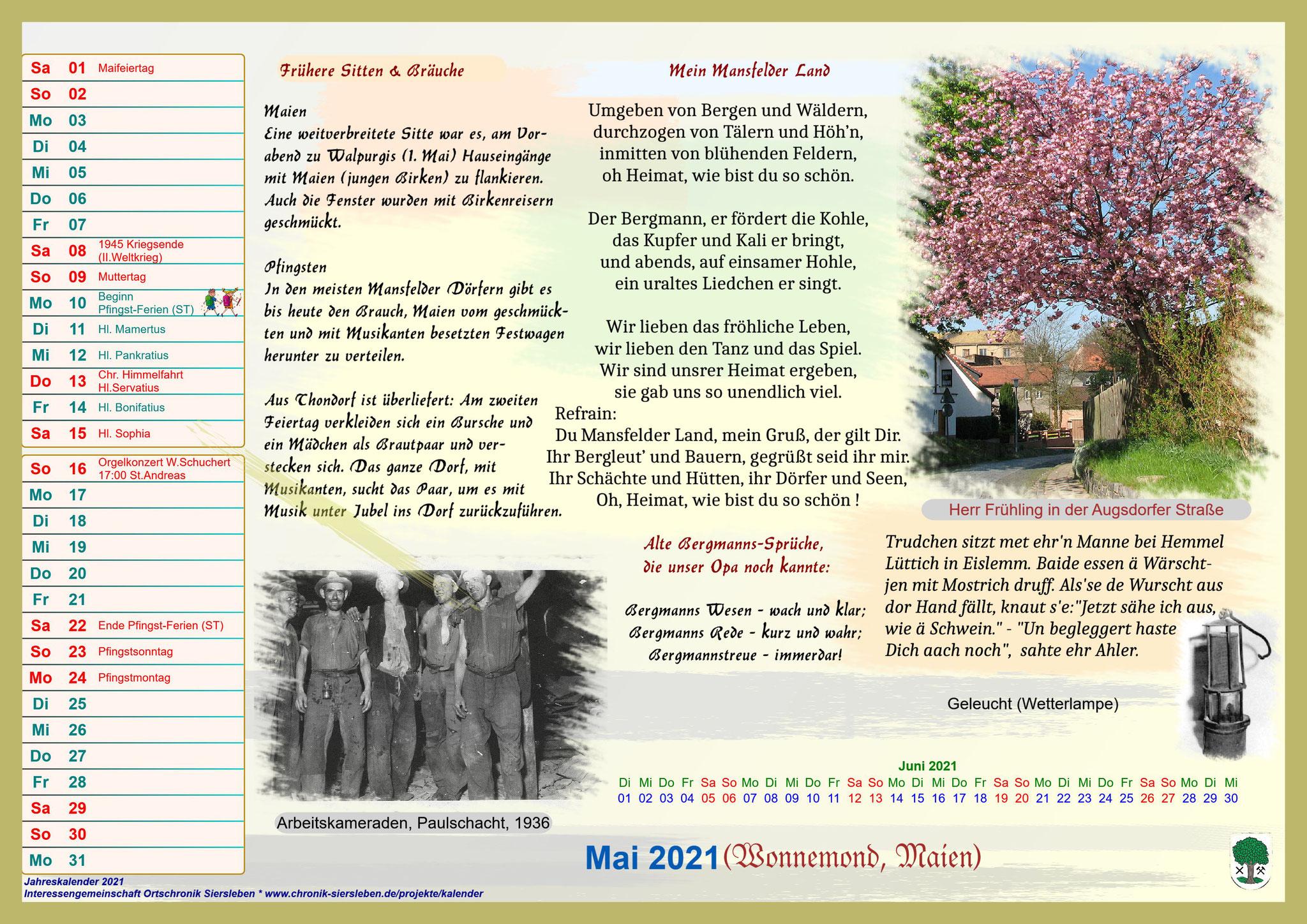 Jahreskalender 2021; Mai