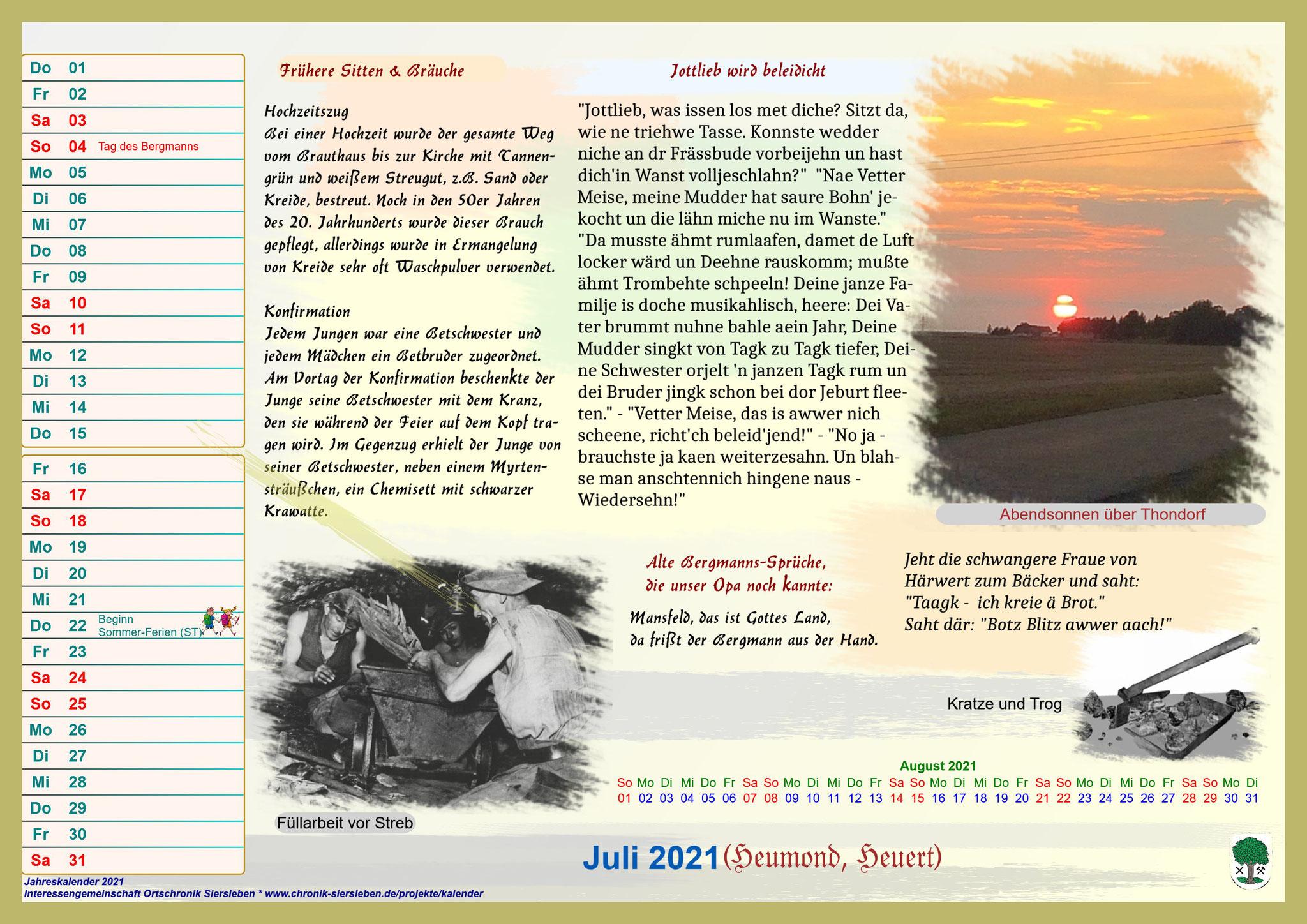 Jahreskalender 2021; Juli