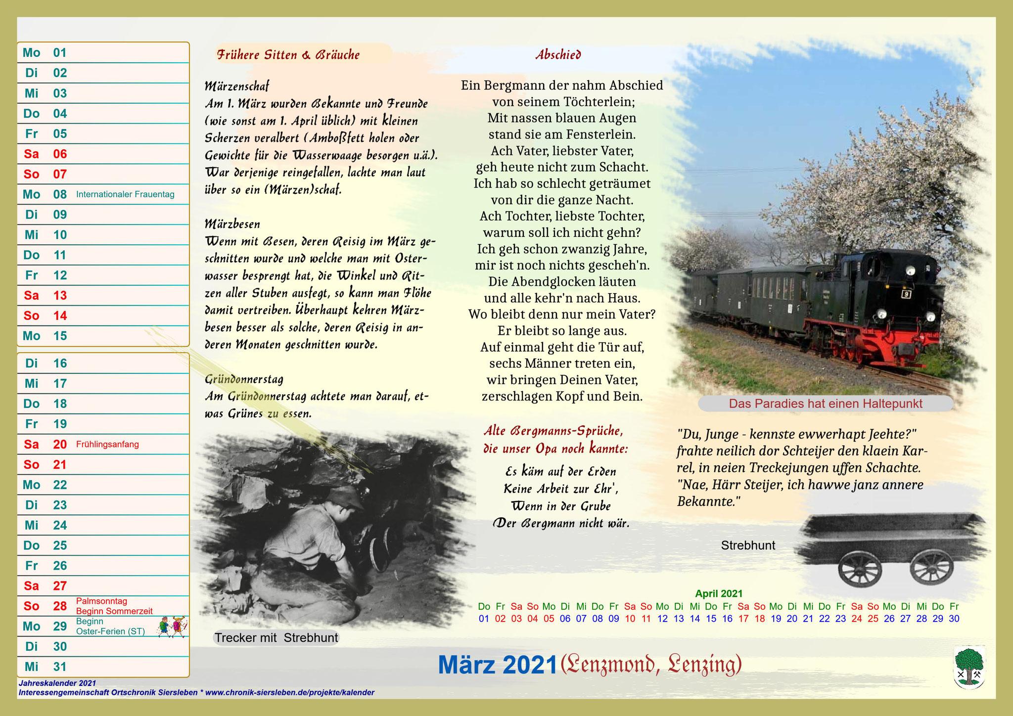 Jahreskalender 2021; März