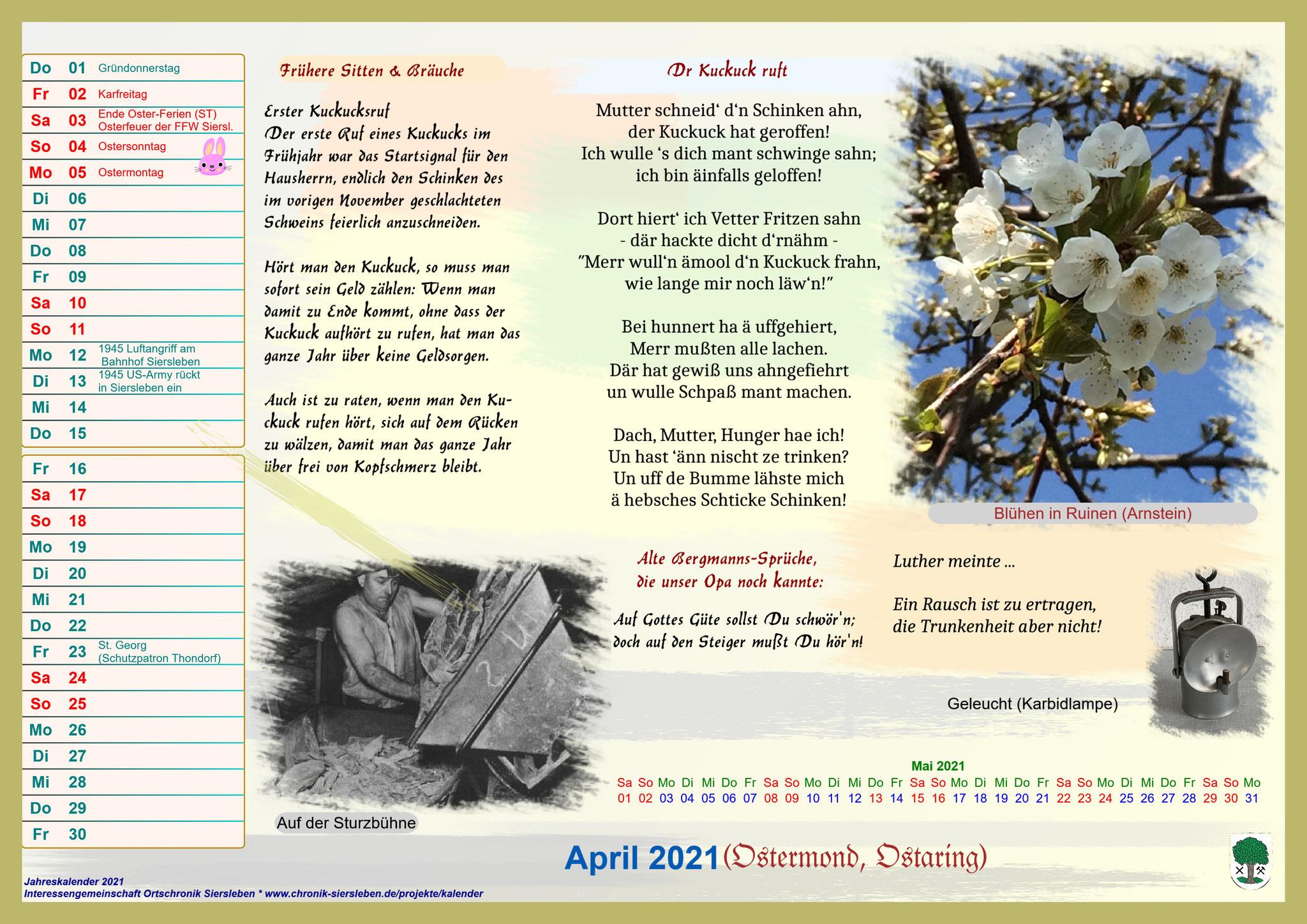Jahreskalender 2021; April