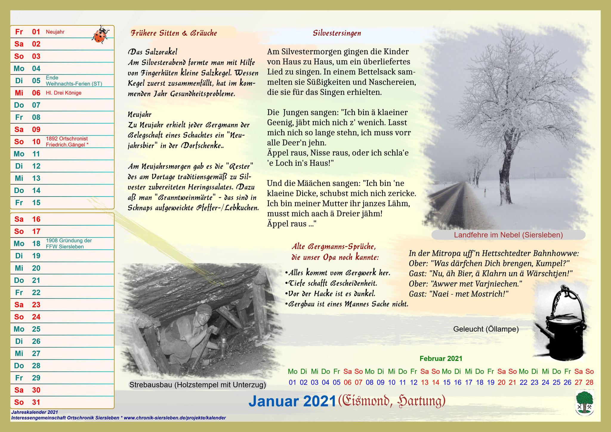 Jahreskalender 2021; Januar