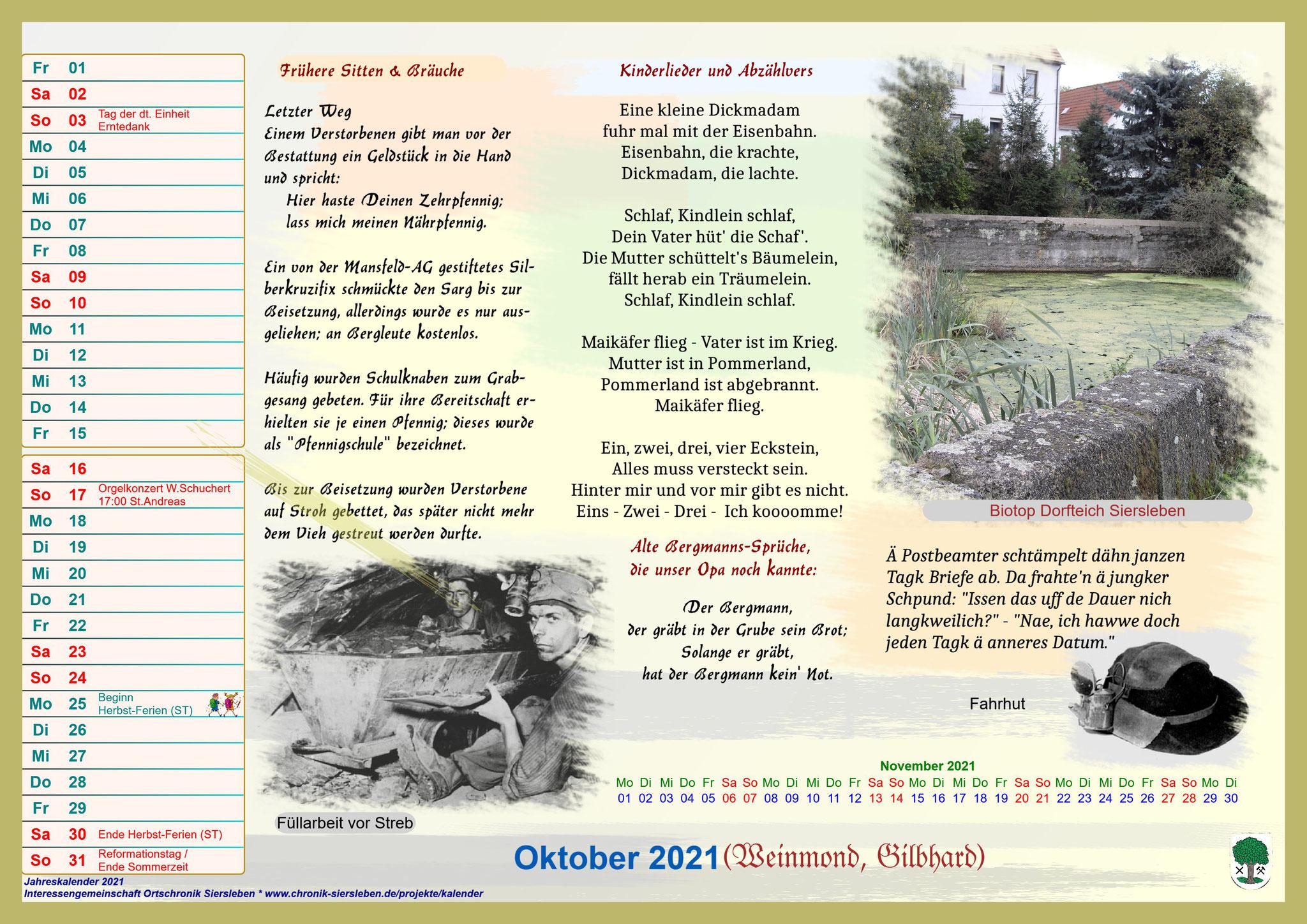 Jahreskalender 2021; Oktober