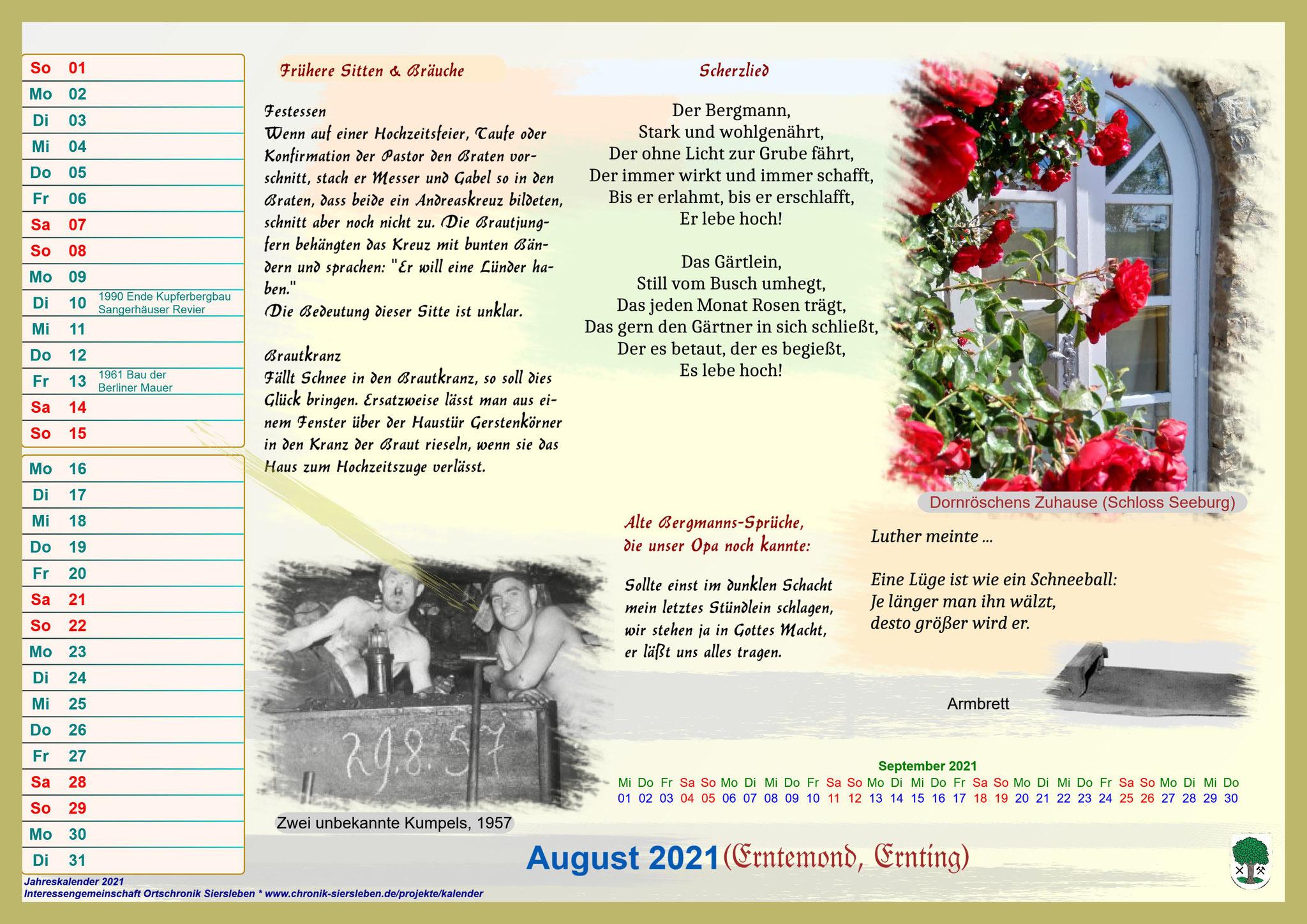 Jahreskalender 2021; August