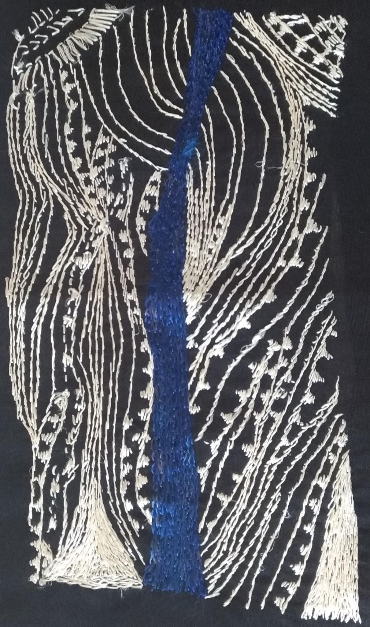 Fil de soie sur tissu en lin - 27x16cm