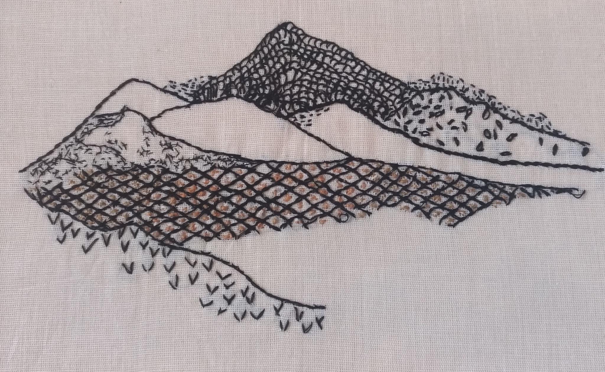 Fil de coton sur tissu en voile de coton -23x15cm