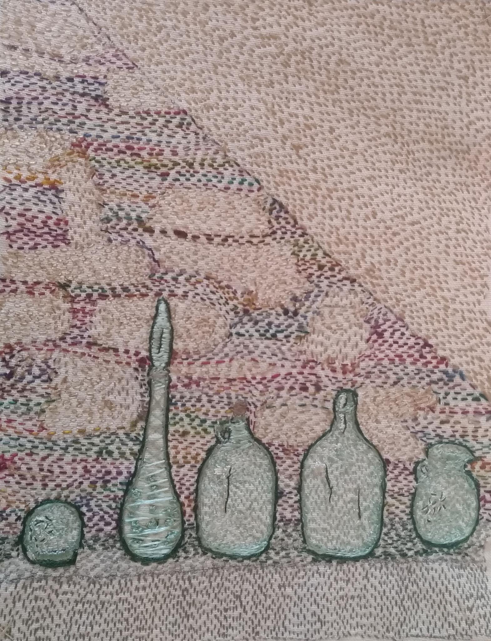 Fil de coton sur tissu en coton - 27x21cm