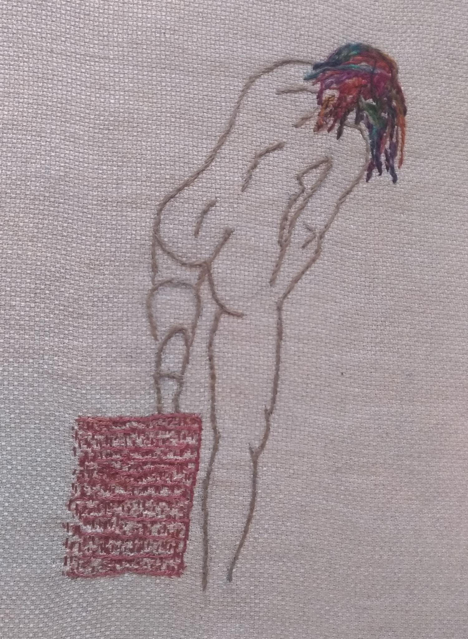 Fil de coton sur tissu en coton - diamètre 23cm