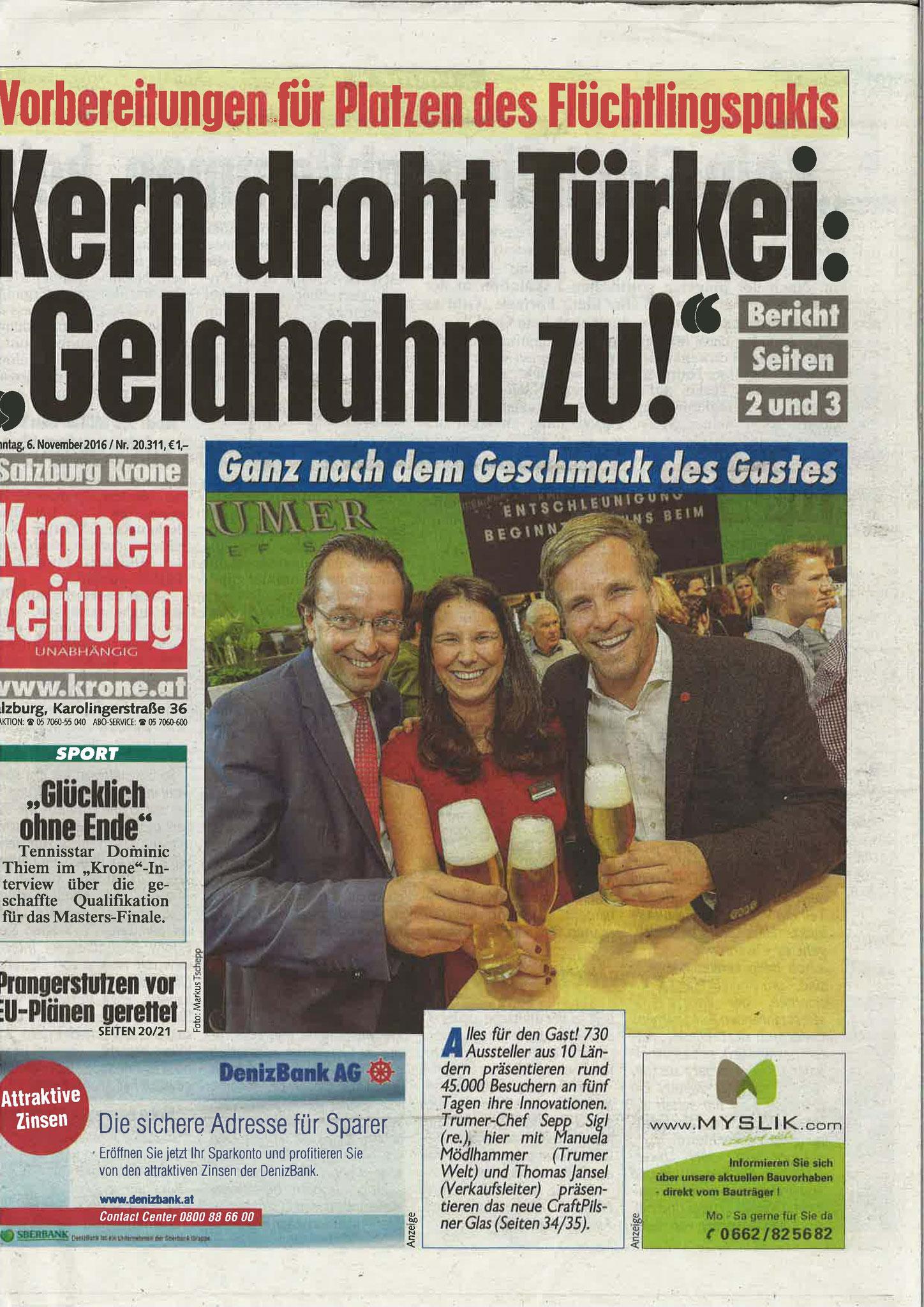 Kronen Zeitung Salzburg, 6. November 2016