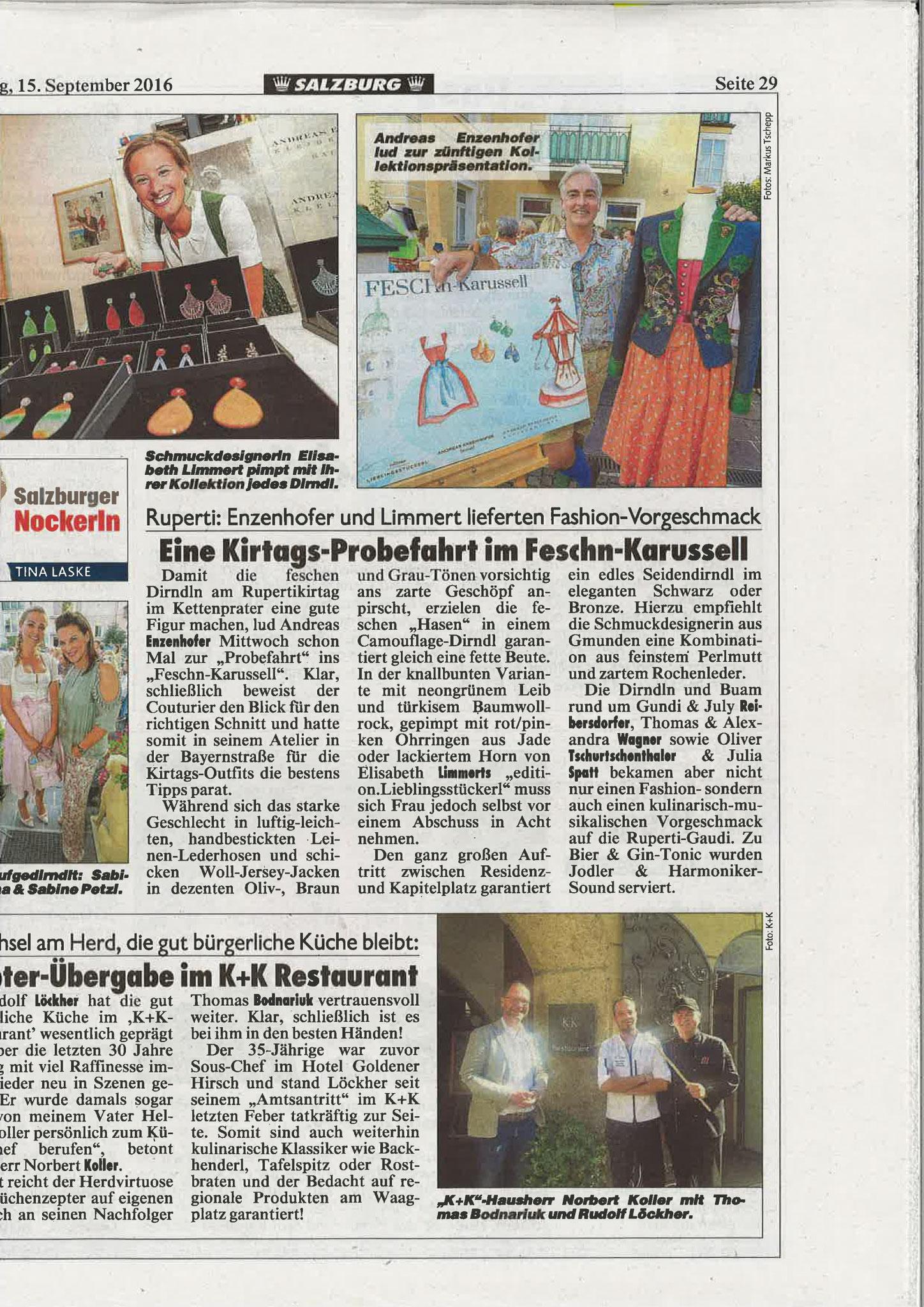 Kronen Zeitung Salzburg, 15. September 2016
