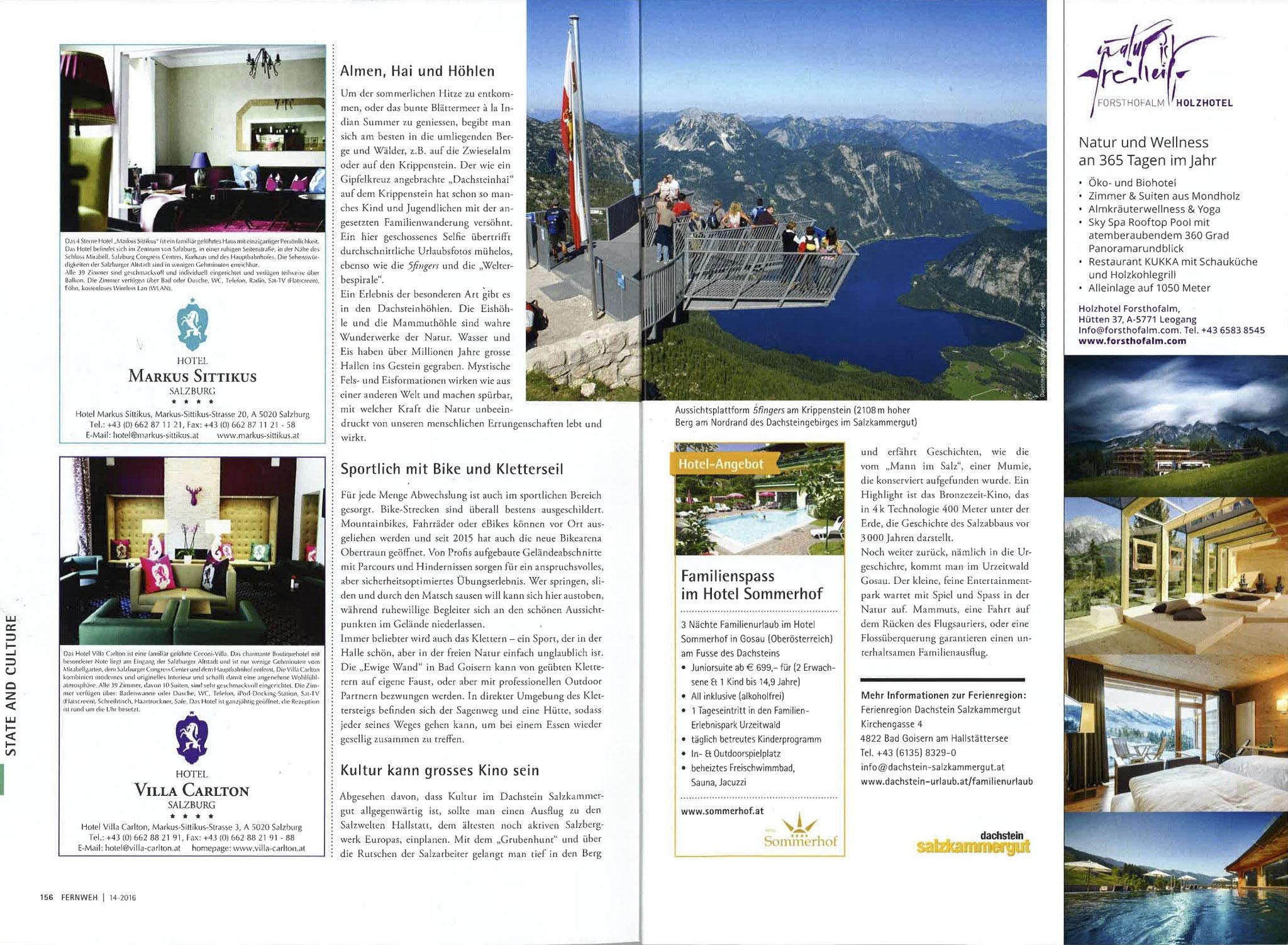 Fernweh - das Schweizer Reisemagazin,  2016