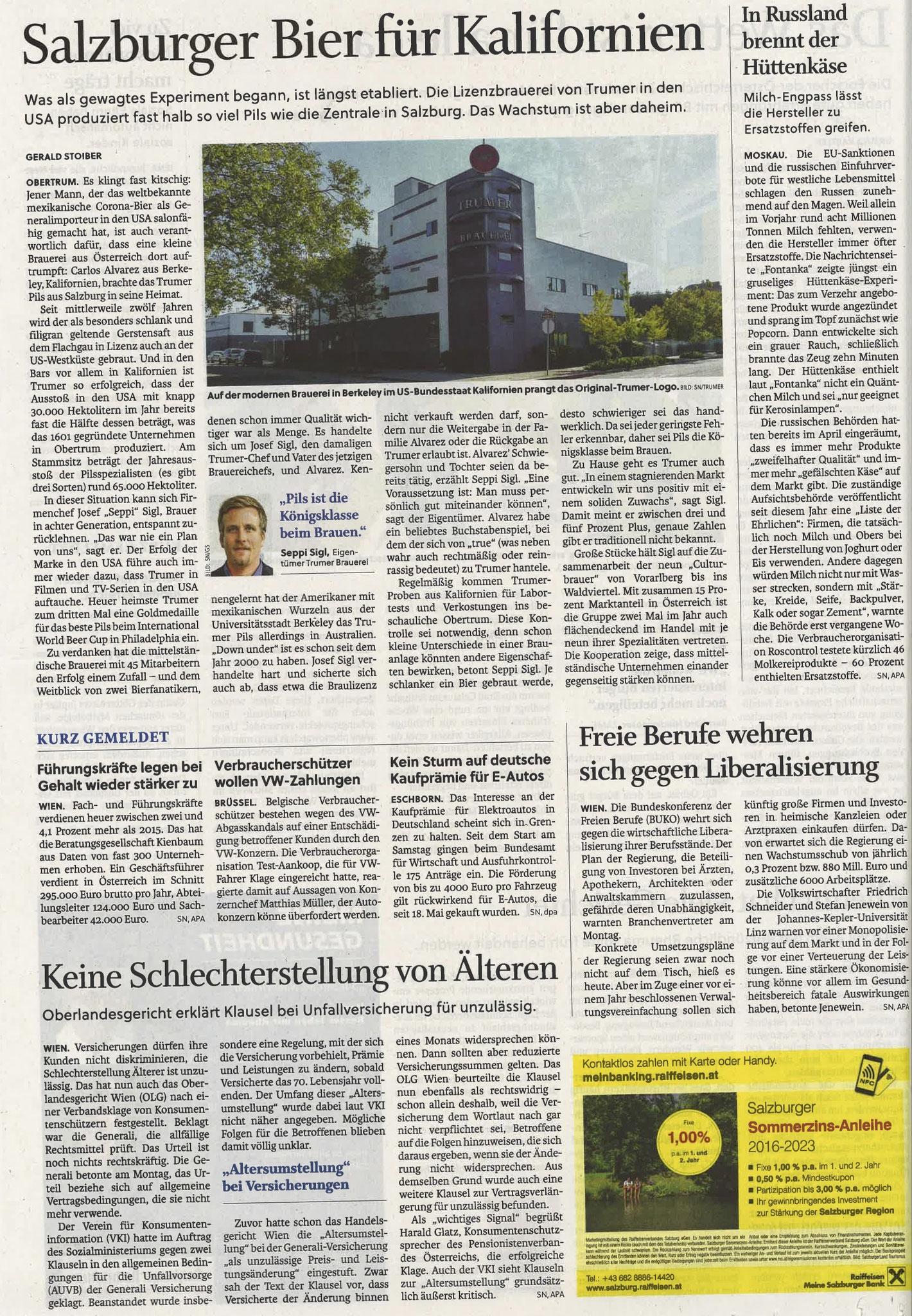 Salzburger Nachrichten, 05. Juli 2016