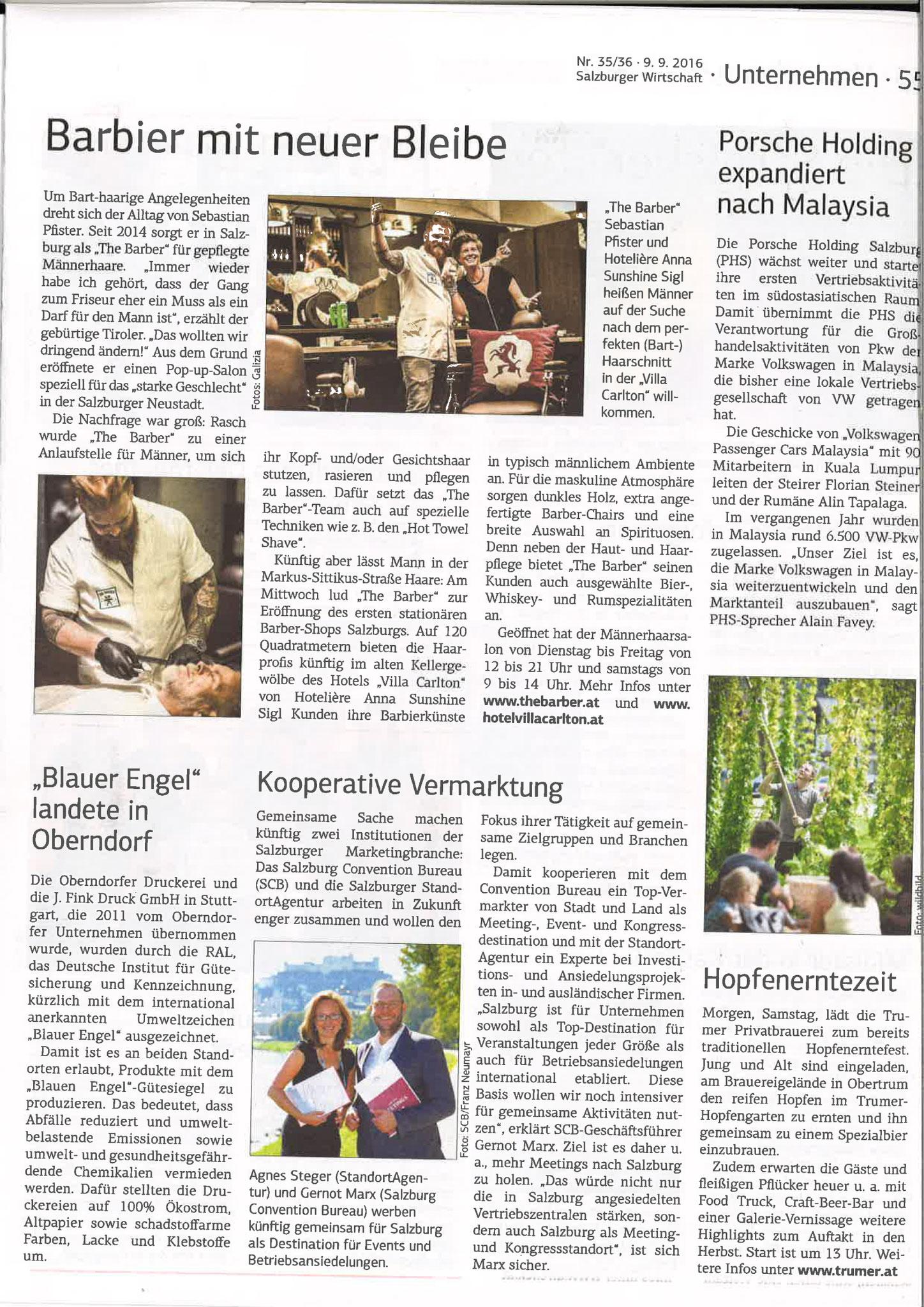 Salzburger Wirtschaft, 9. September 2016