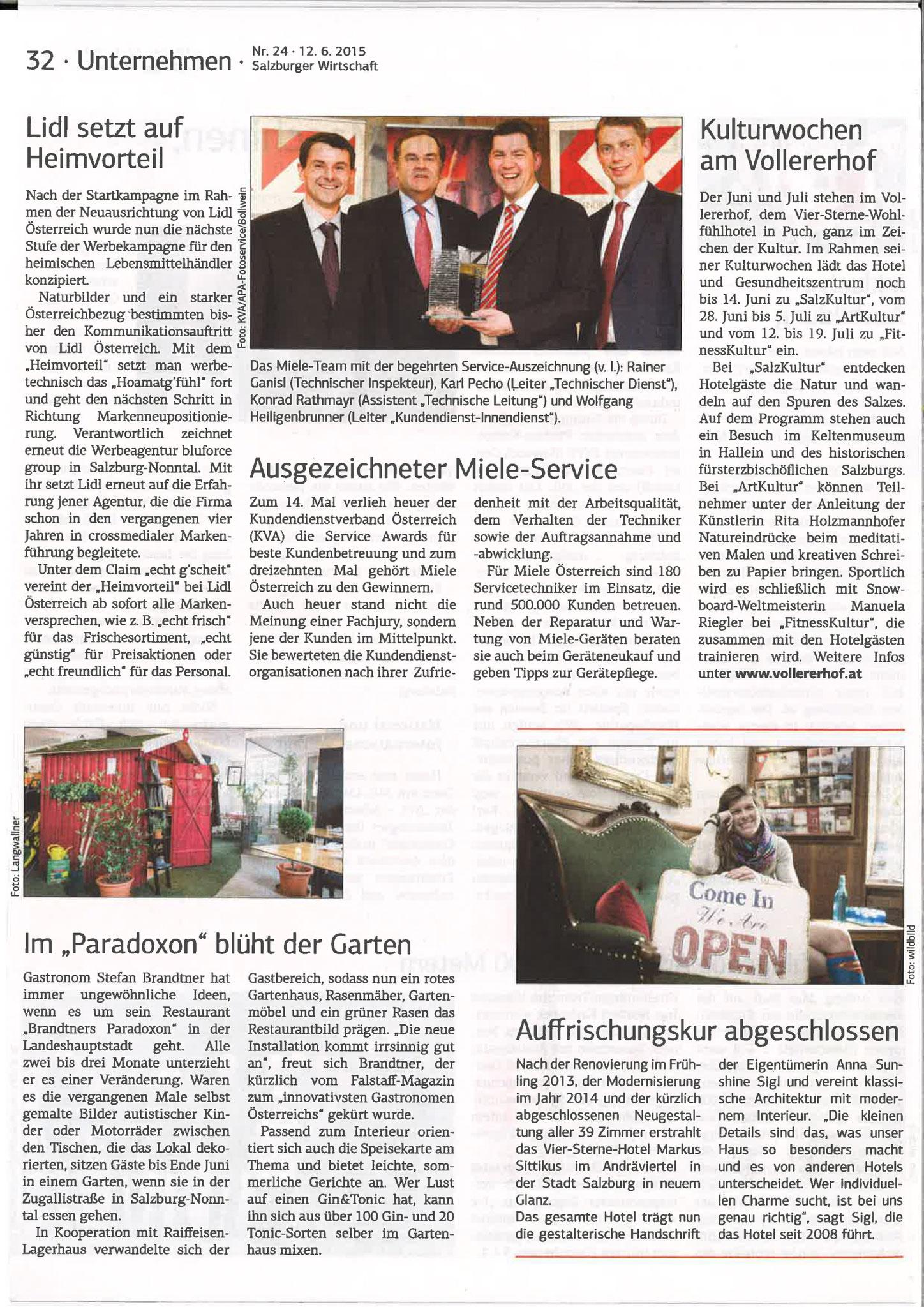Salzburger Wirtschaft, 12. Juni 2015