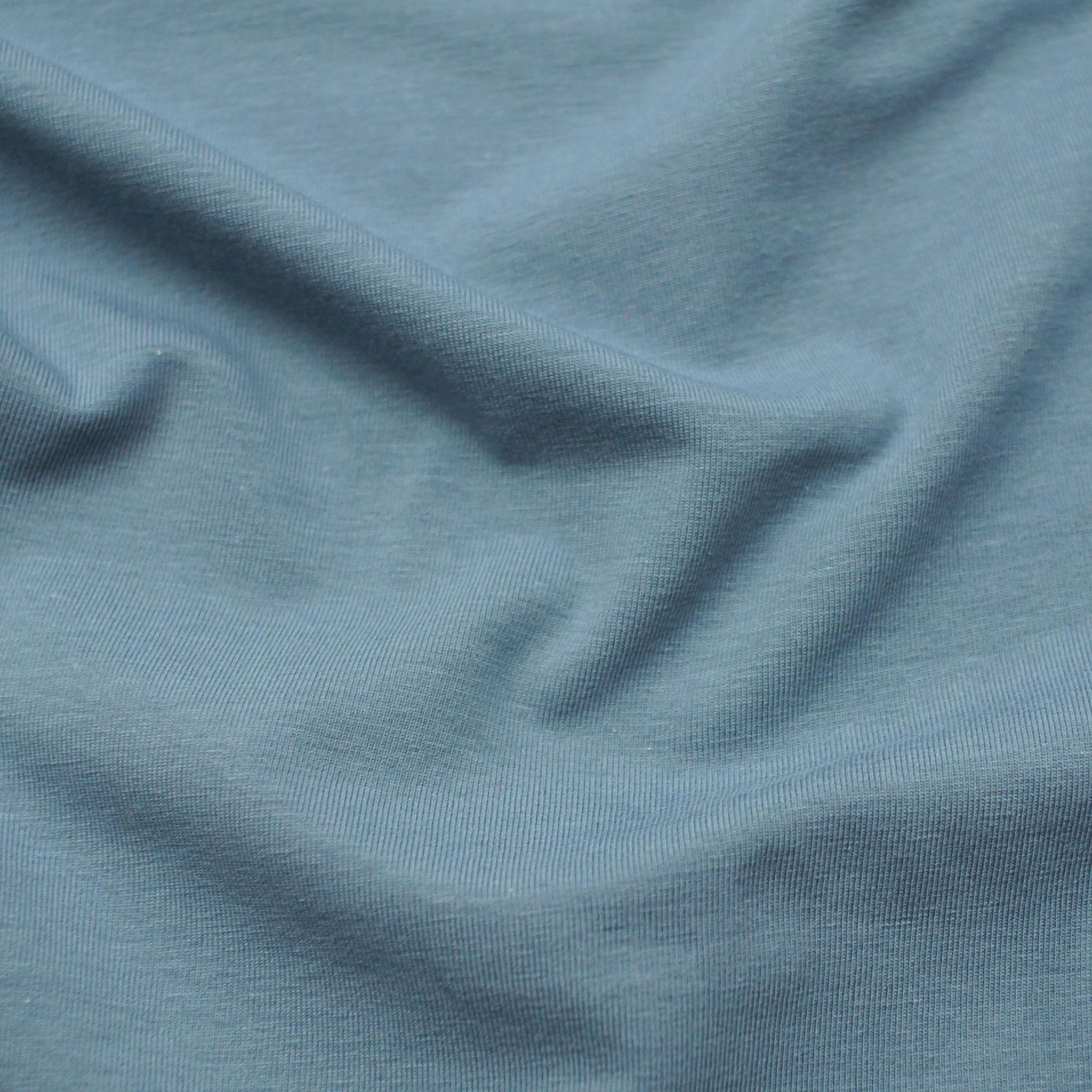 Luft Graublau,Biobaumwoll- Jersey (GOTS) Lebenskleidung,95% Baumwolle, 5% Elasthan,170g/m2, 170cm