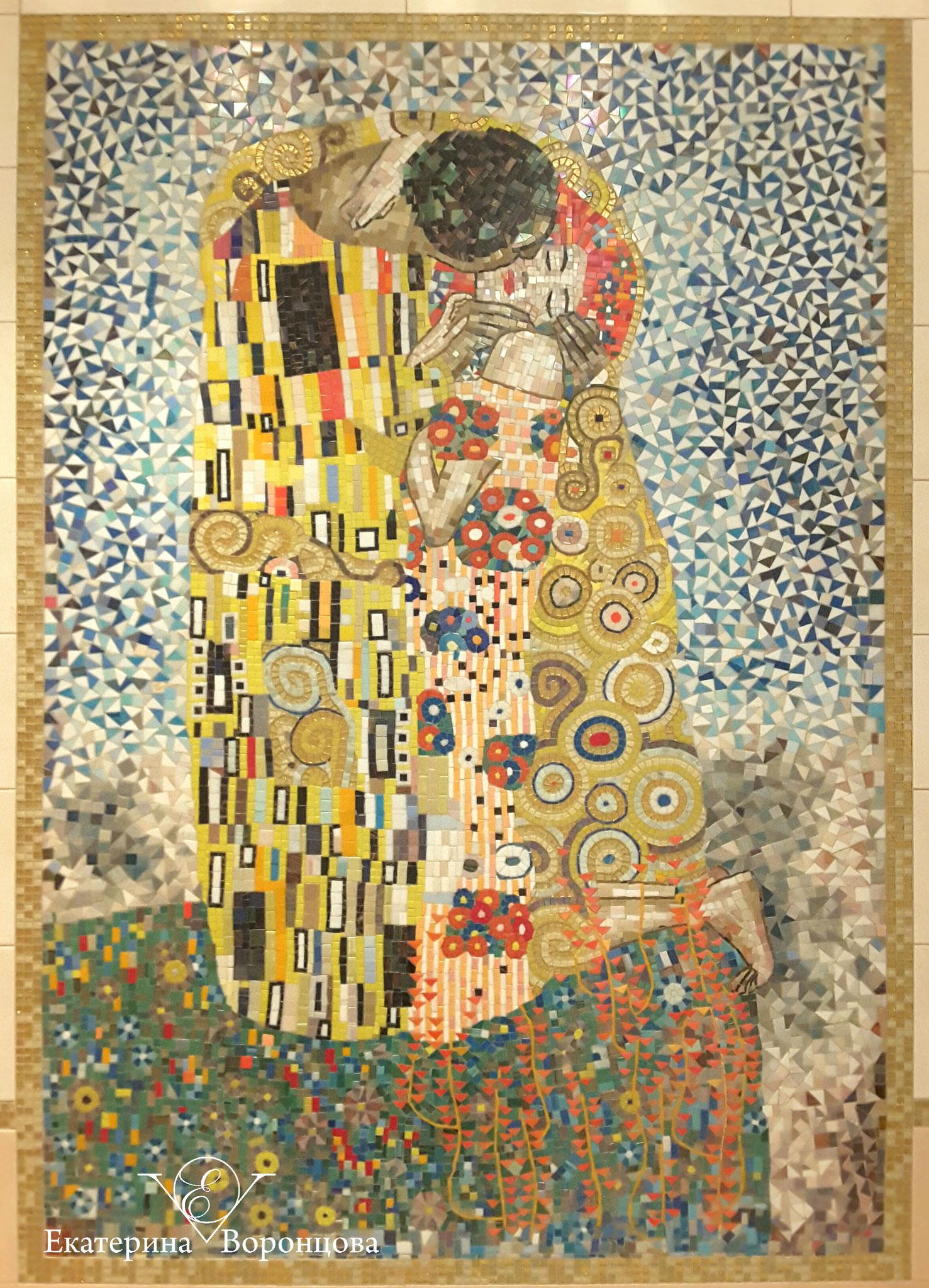 "По мотивам Г.Климт ""Поцелуй"" (колотая мозайка, 150х110)"
