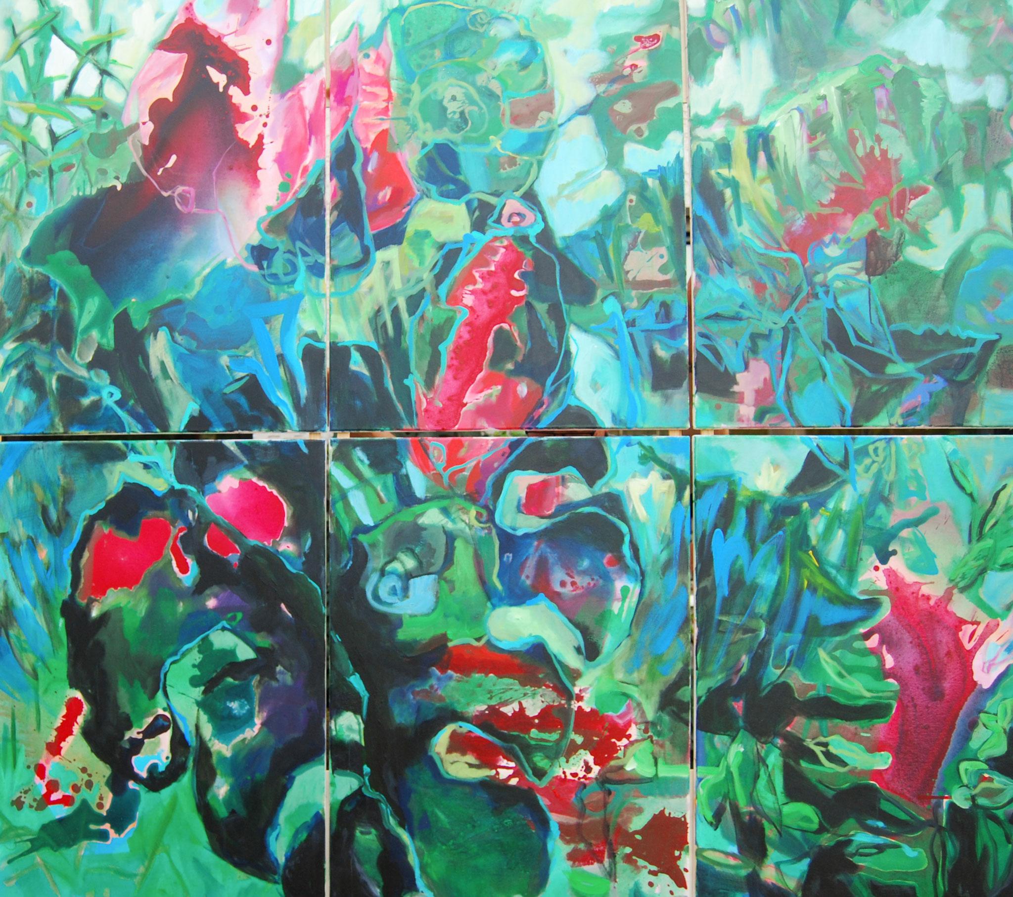 Garden Eden, 2018, Mischtechnik, 160 x 180 cm (sechsteilig je 80 x 60 cm)