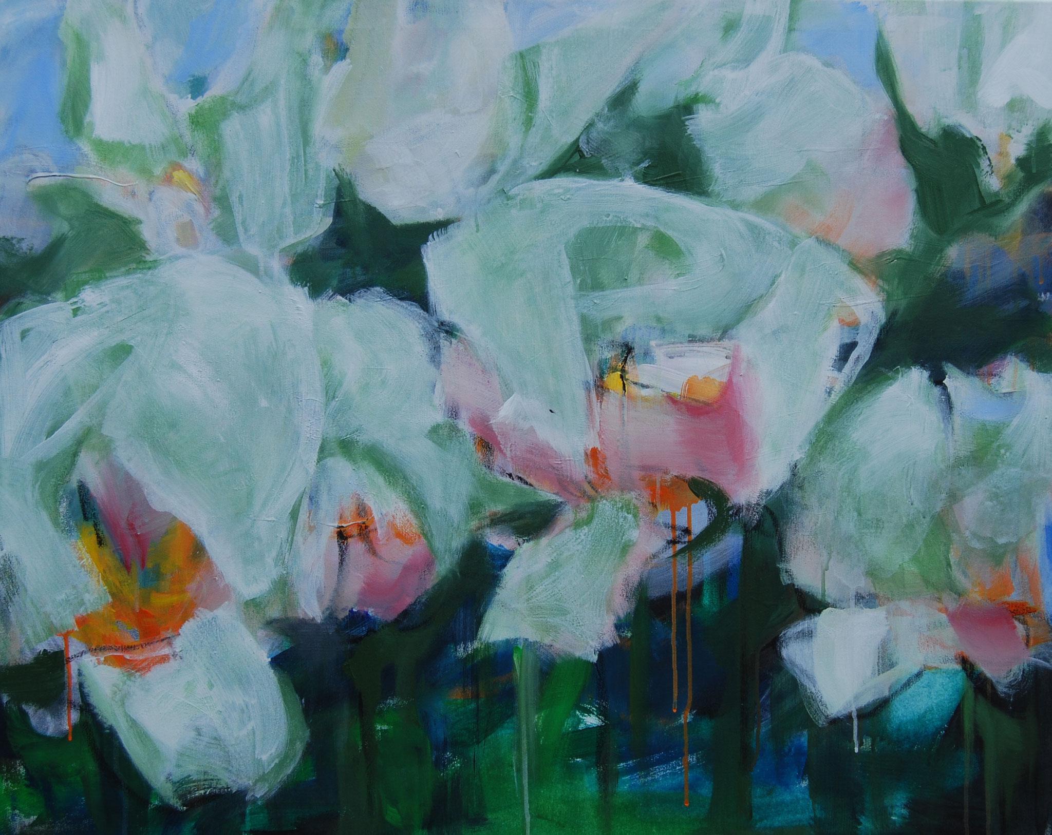 Weiße Tulpen, 2015, Acryl auf Leinwand, 80 x1 00 cm